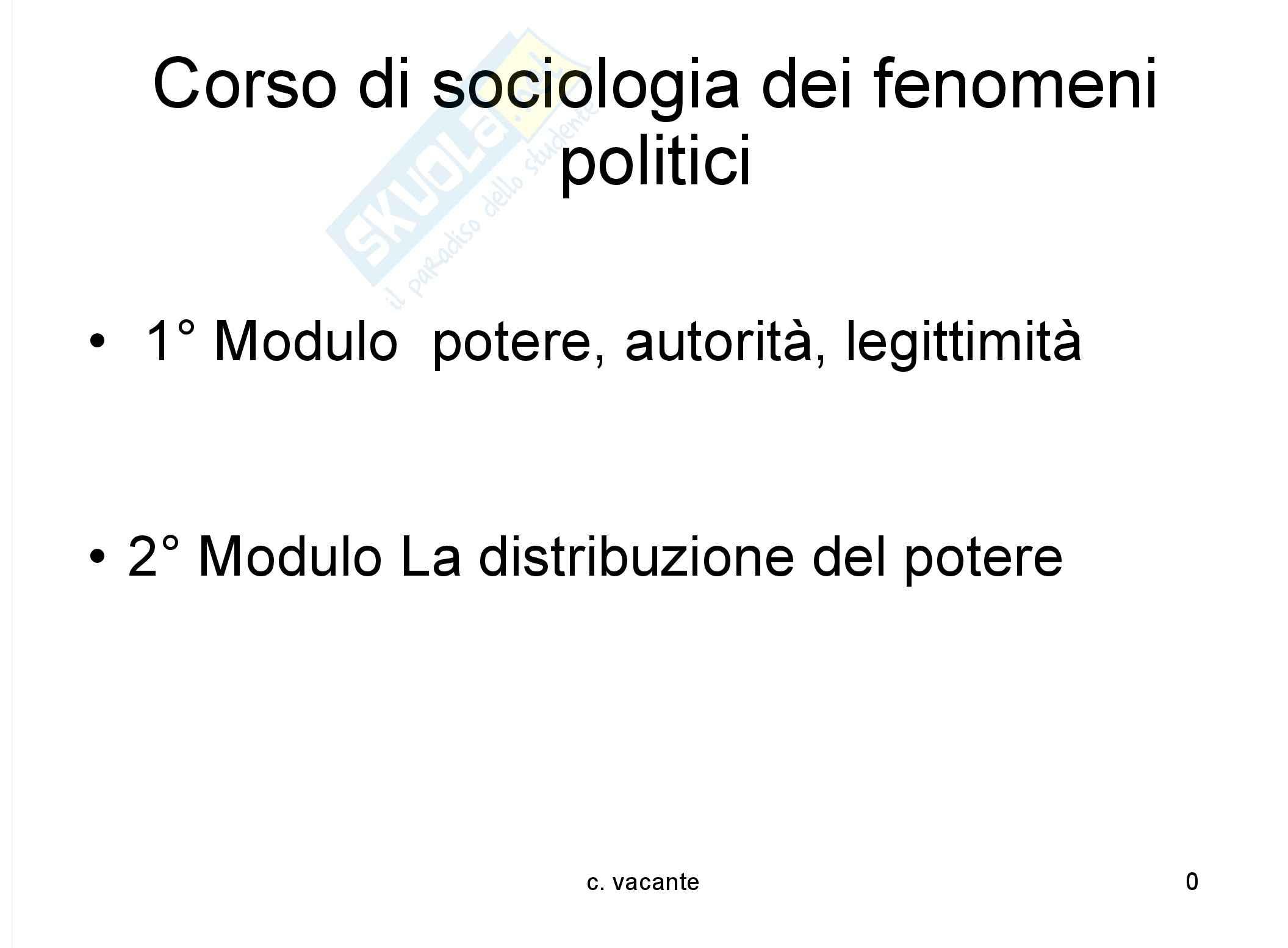 Sociologia dei fenomeni politici - il potere - appunti
