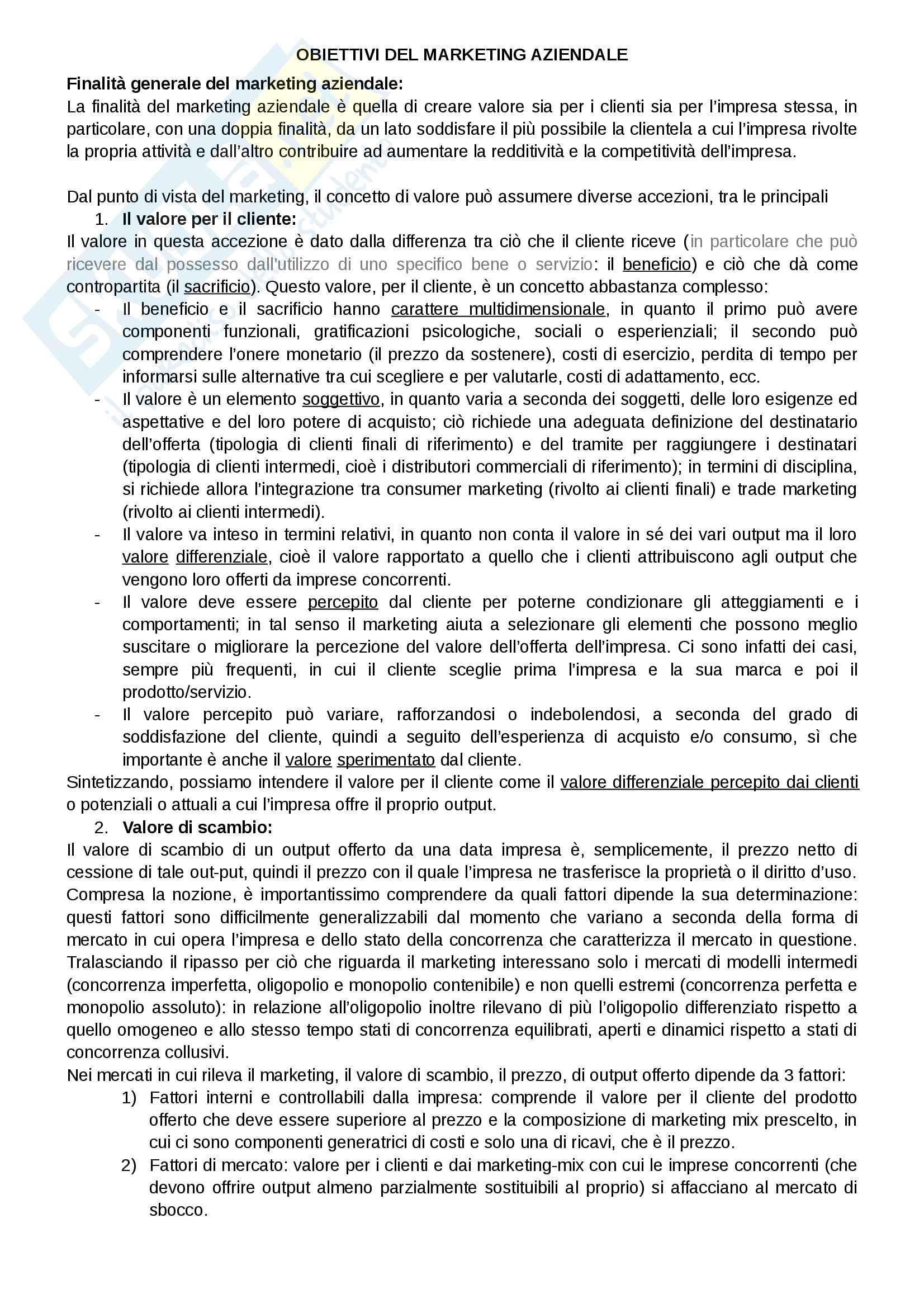 """Riassunto esame Marketing, docente Gian Luca Gregori, libro consigliato Marketing e creazione del valore"""", a cura di Giancarlo Ferrero"""