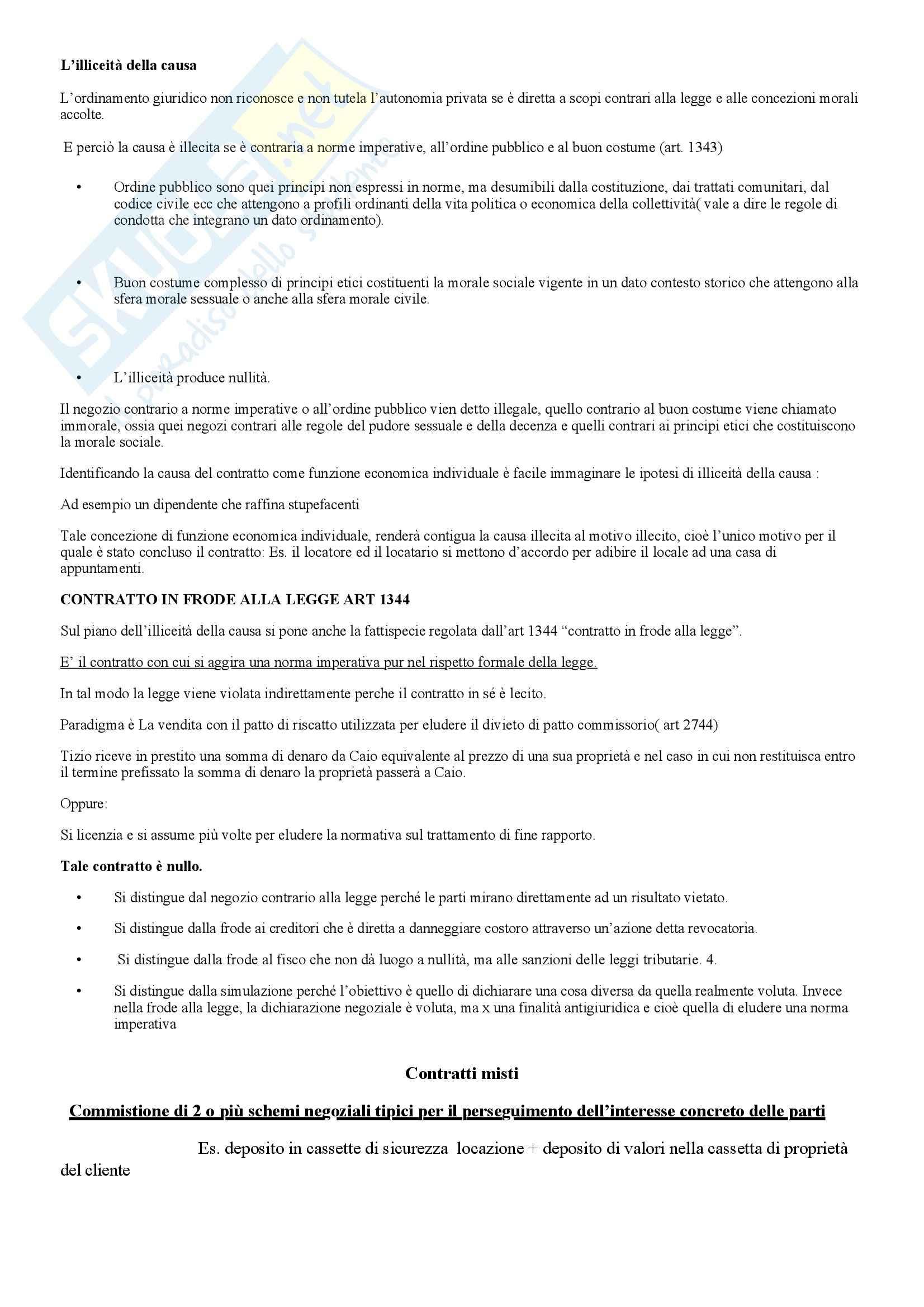 Riassunto esame Diritto privato, prof. Scognamiglio, libro consigliato Illiceità della causa e negozio in frode di legge