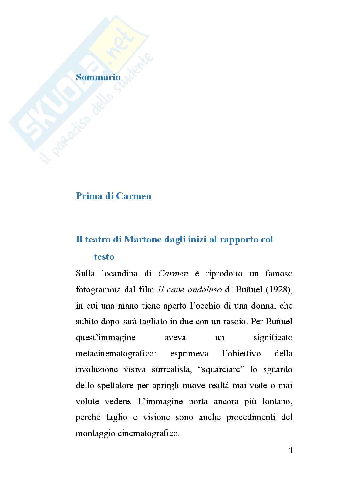 Tesi sulla storia del teatro contemporaneo: Mario Martone e la sua opera Carmen (2015)