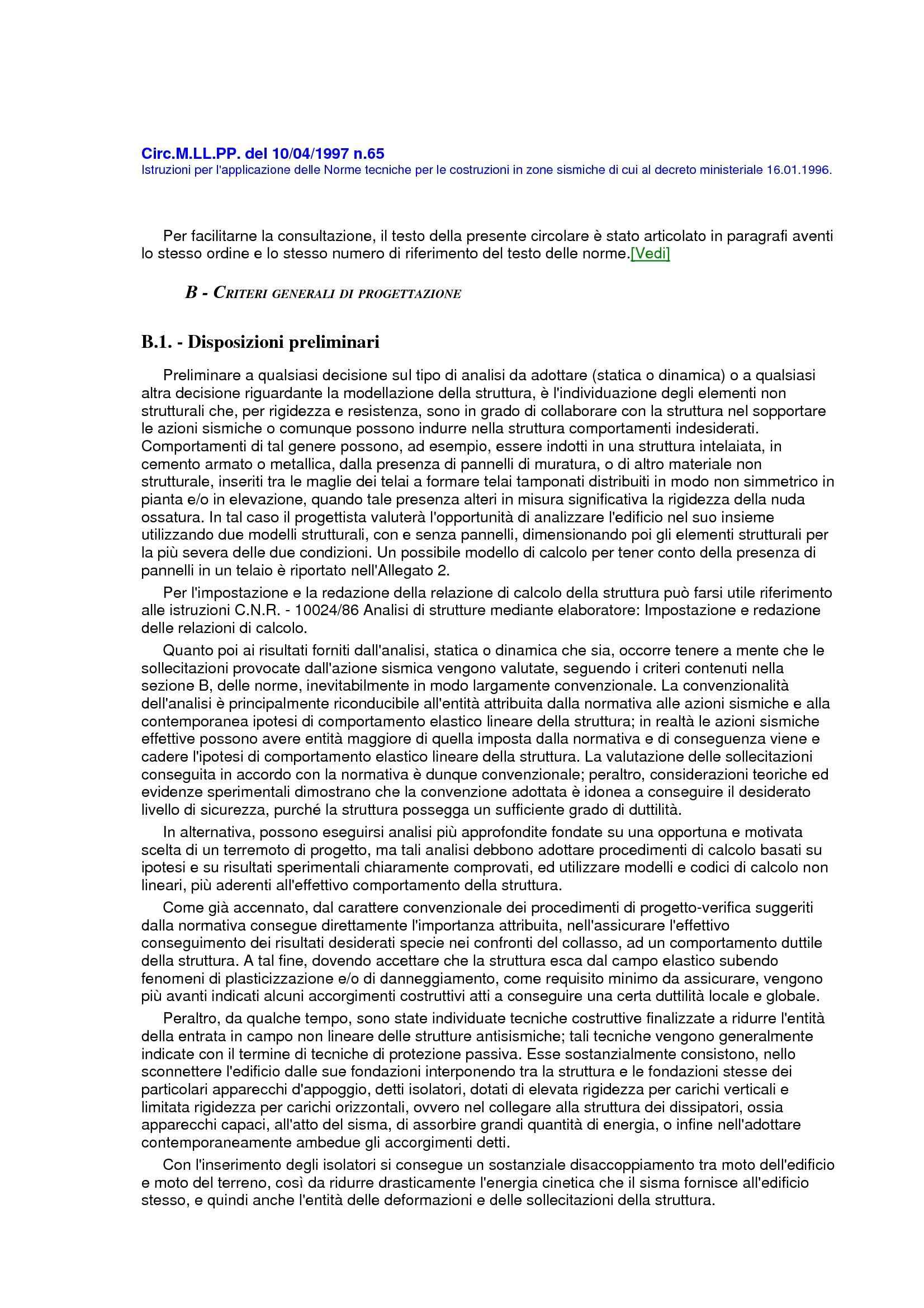 Costruzioni sismiche - Norme Circ.M.LL.PP. 10/04/1997 n.65
