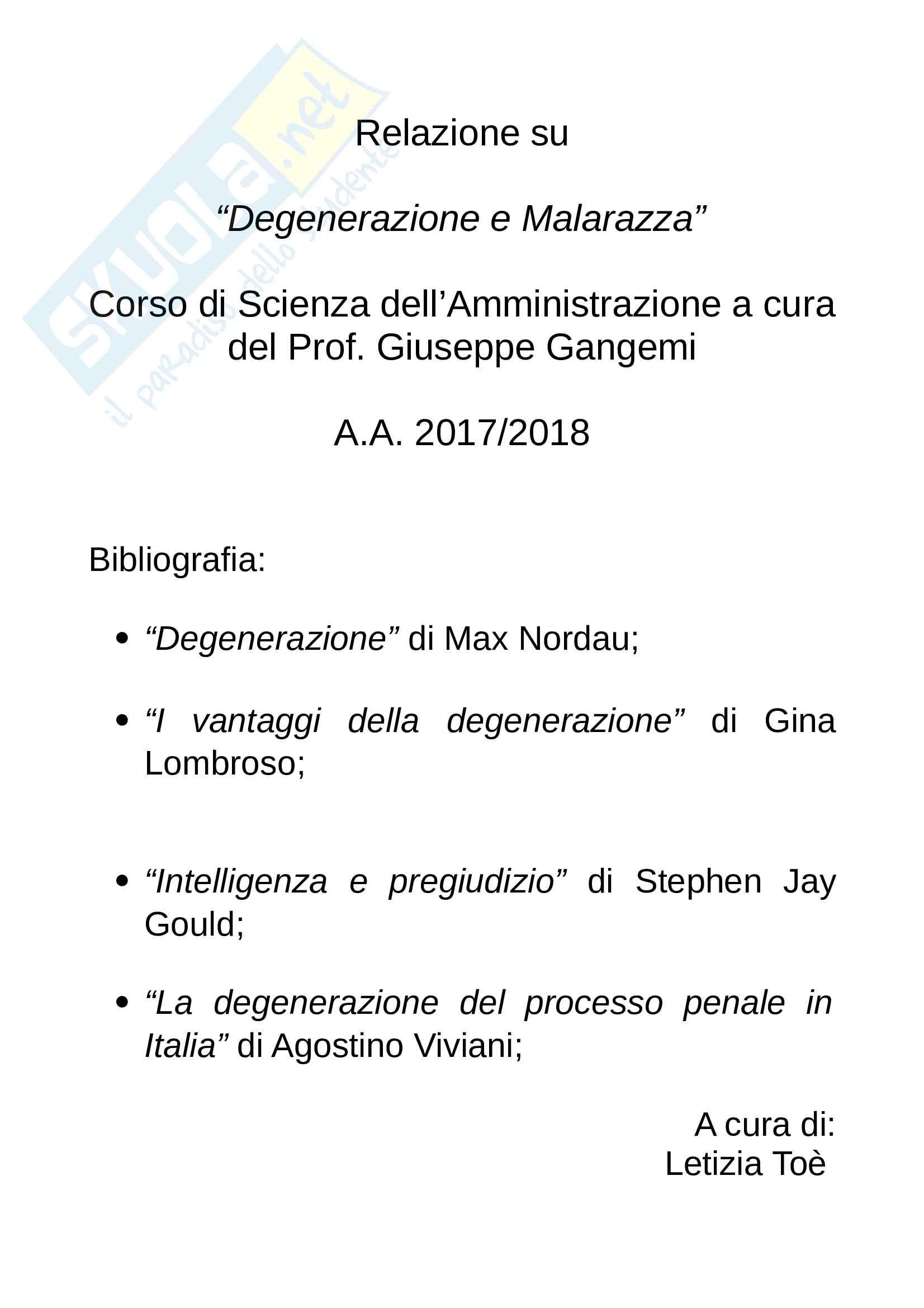 Tesina su Cesare Lombroso e il concetto di degenerazione e malarazza