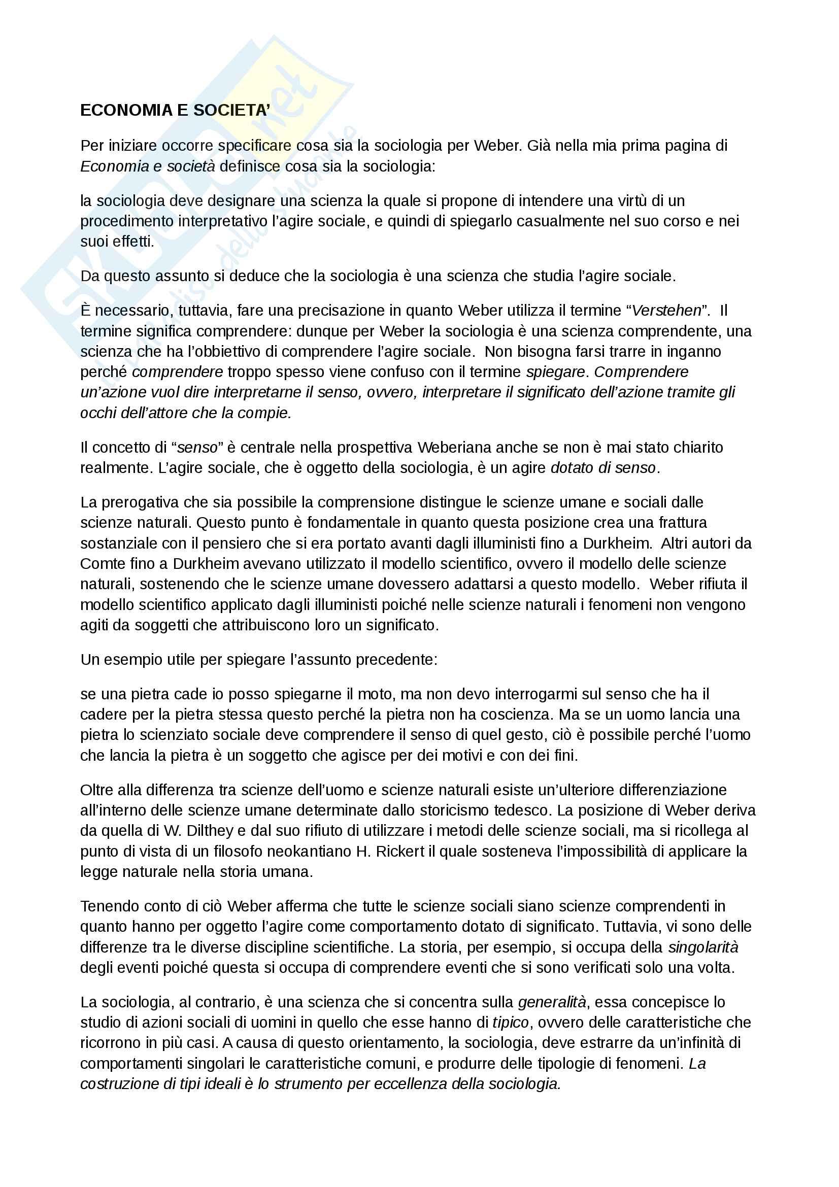 appunto R. Ciucci Sociologia avanzato