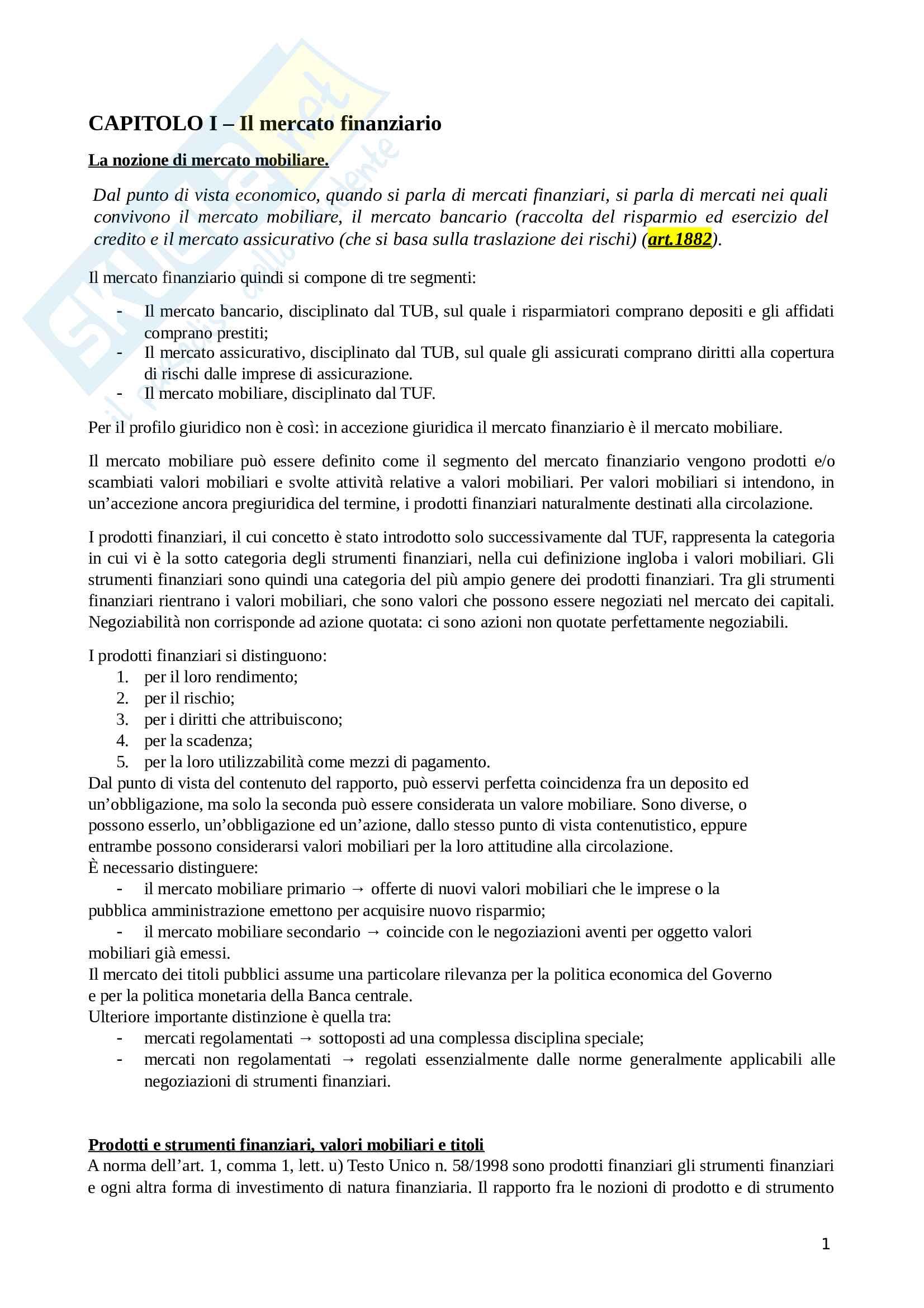 Diritto dei mercati finanziari, prof Regoli