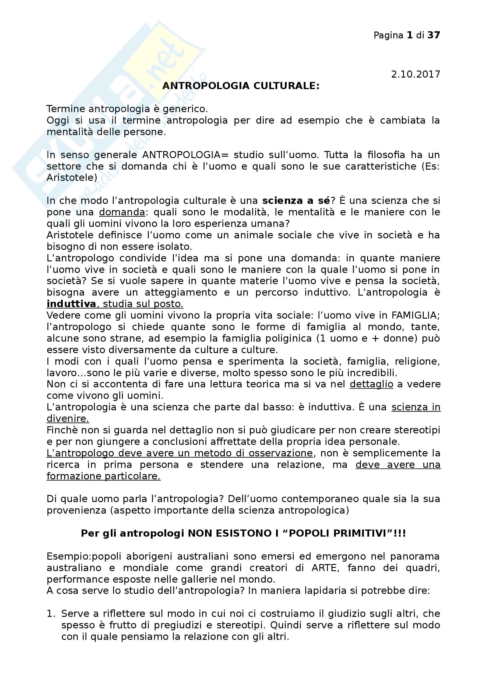 Antropologia culturale Pag. 1