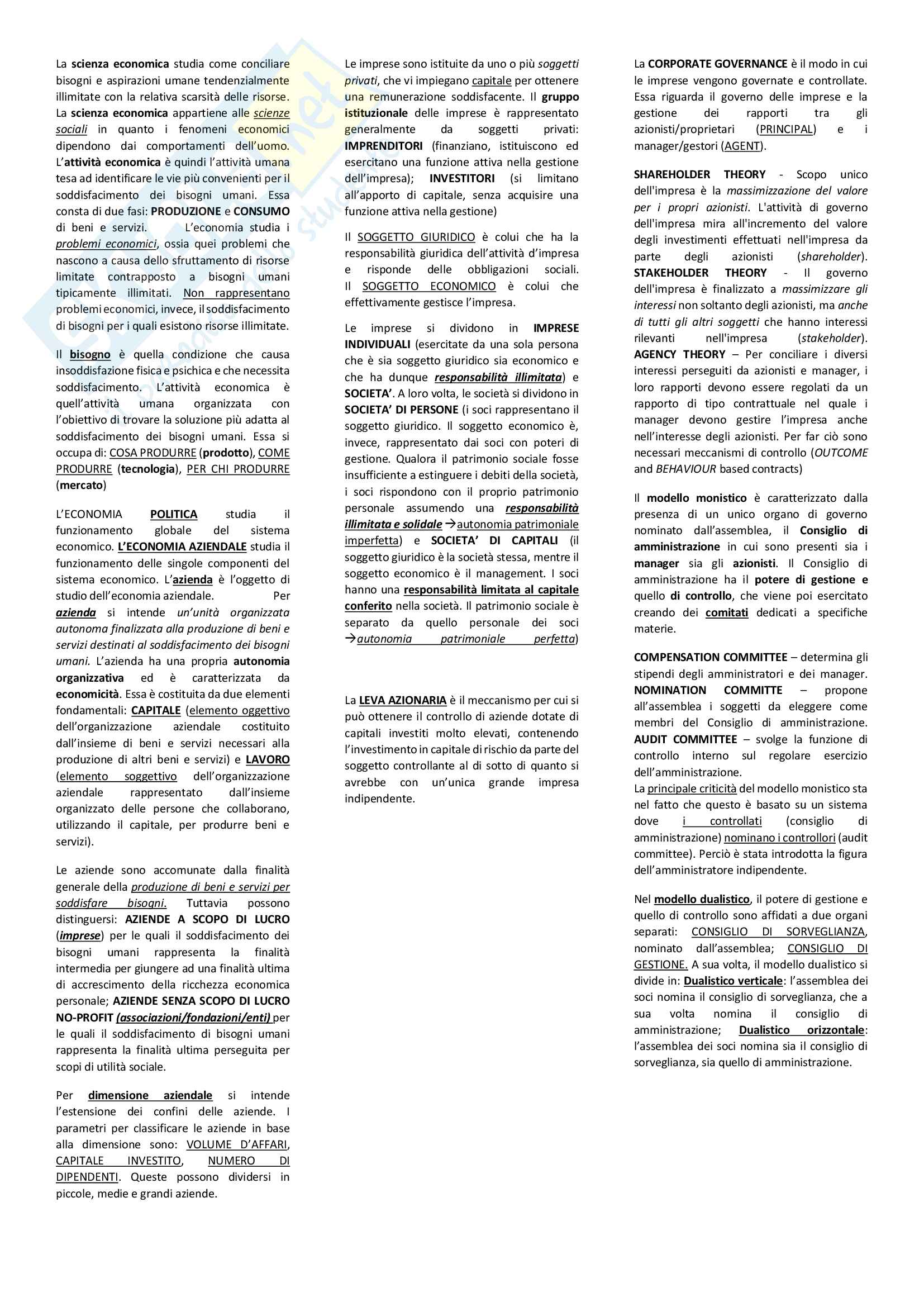 Riassunto + Appunti di economia aziendale