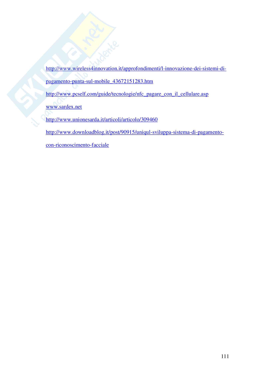Tesi evoluzione sistemi di pagamento Pag. 111