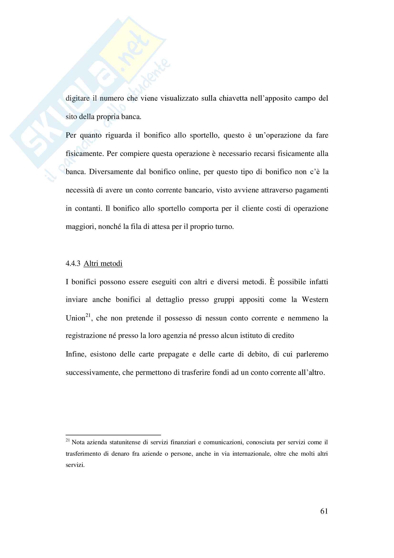 Tesi evoluzione sistemi di pagamento Pag. 61