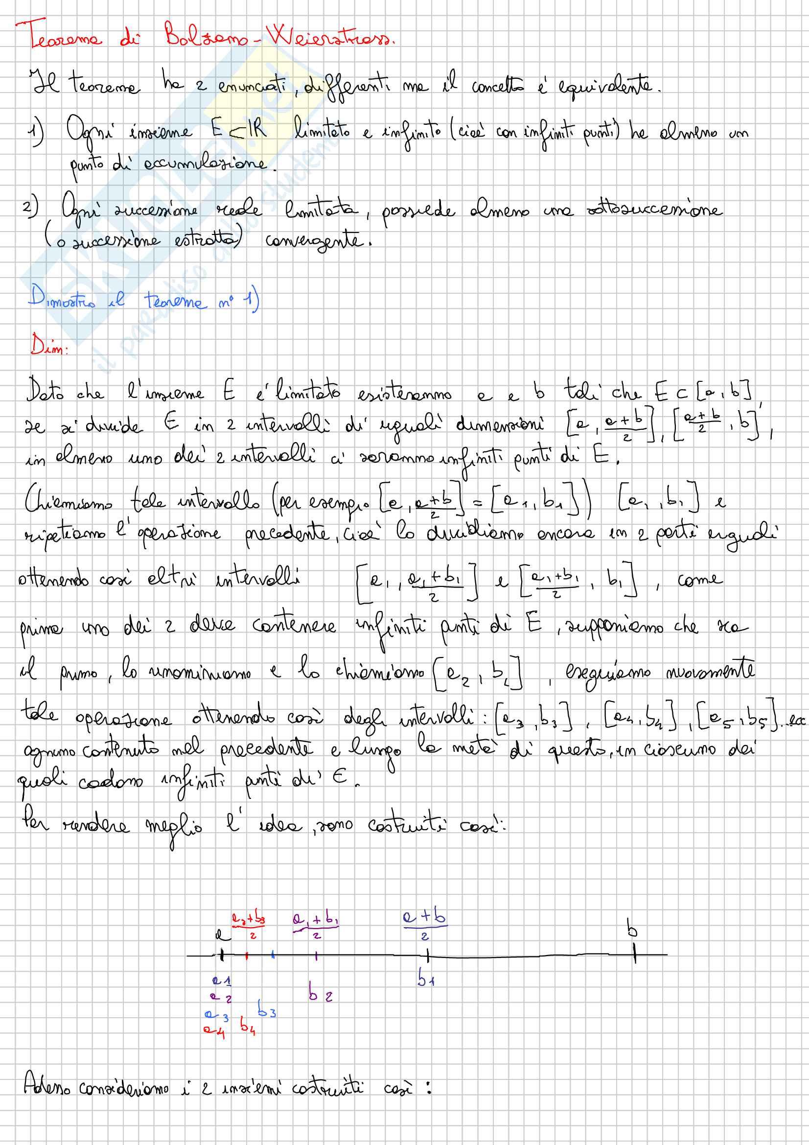 Teorema di Bolzano Weierstrass