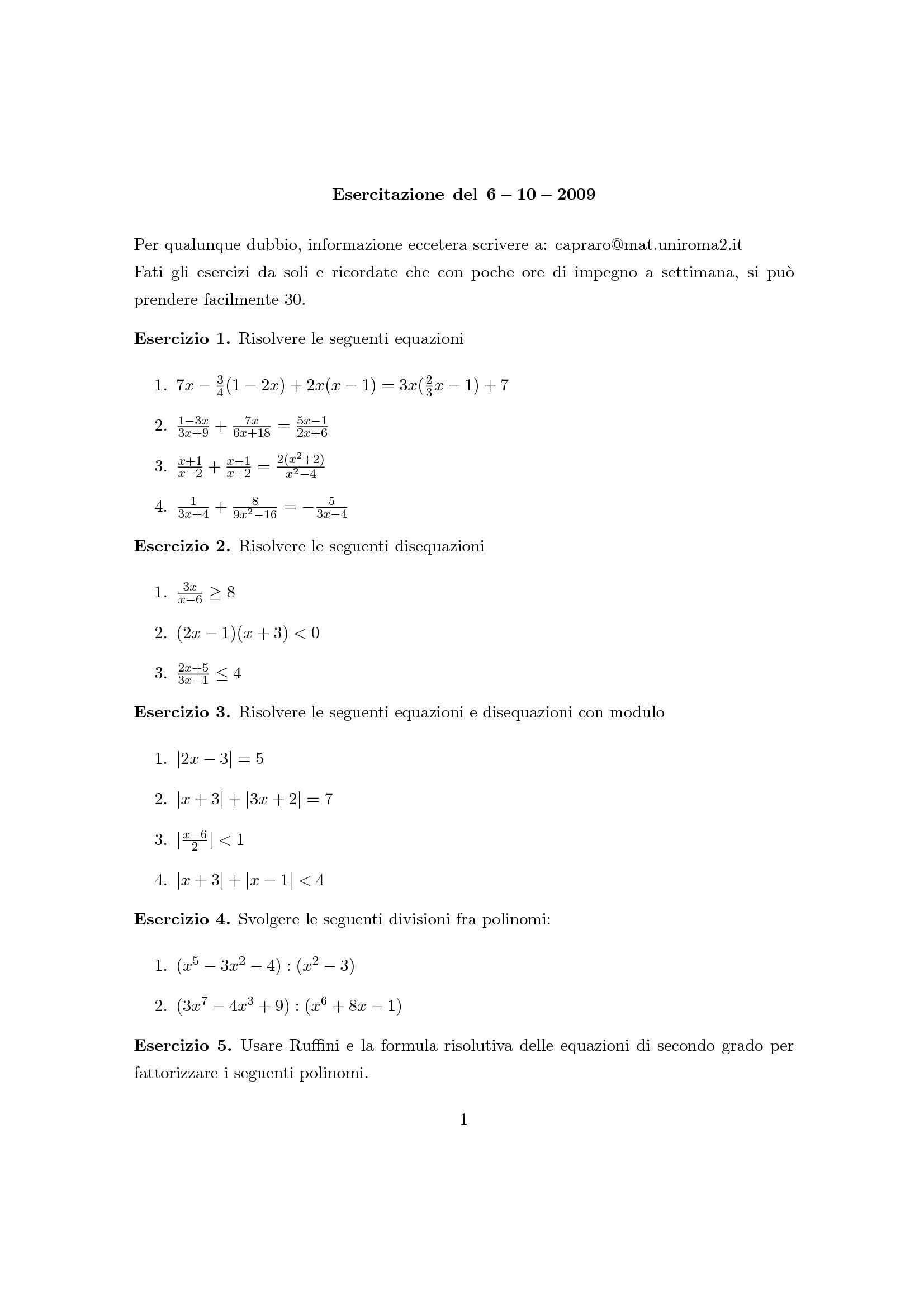 Matematica Generale - Polinomi, equazioni, disequazioni