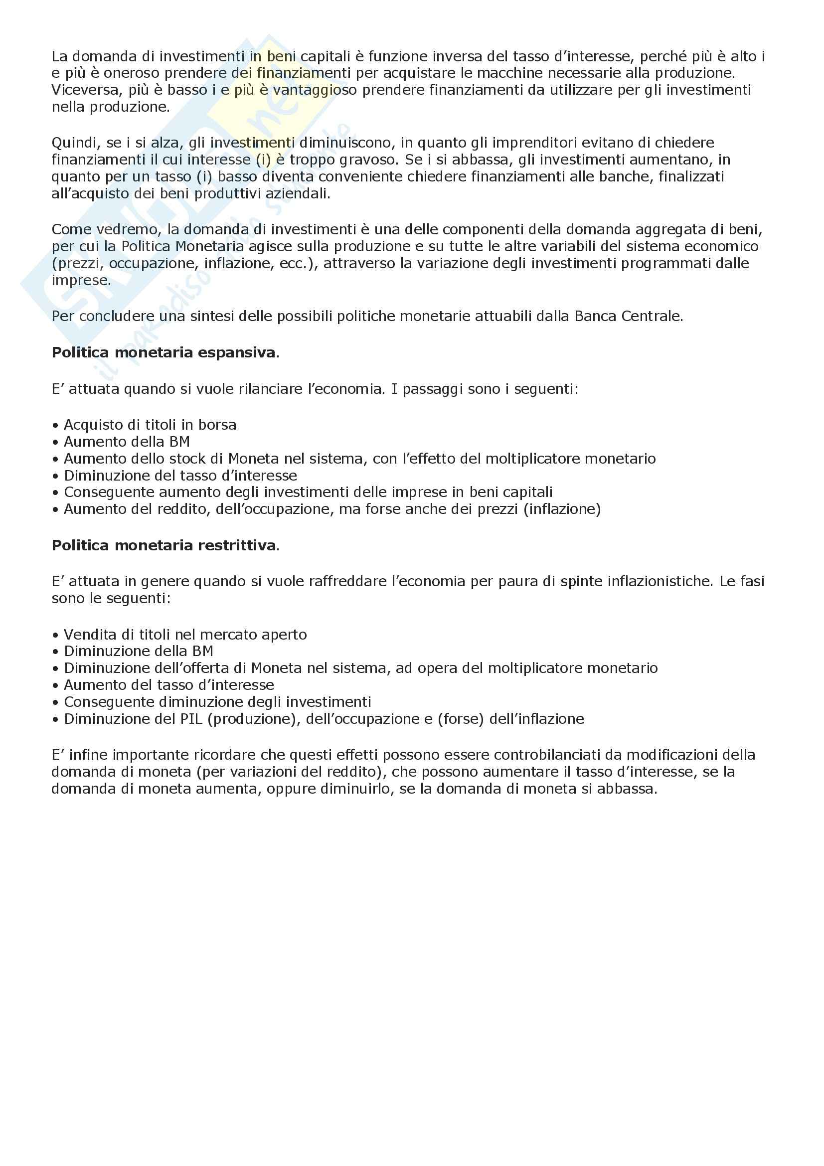 Macroeconomia - moneta e moltiplicatore monetario - Riassunto esame, prof. Bevolo Pag. 6