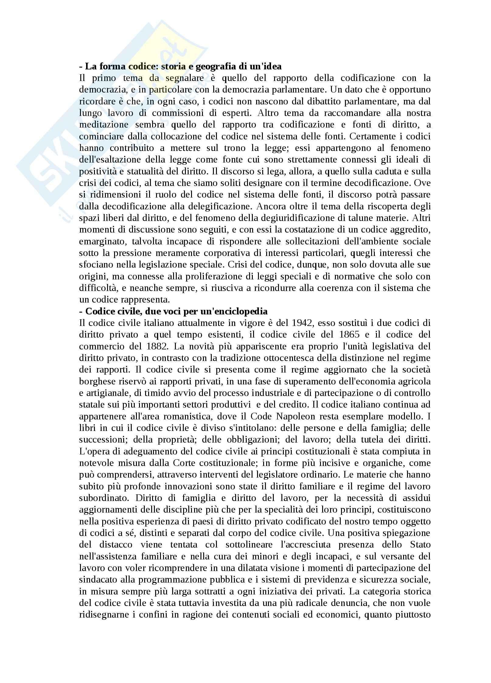 Riassunto esame Sistemi giuridici, Codici. Storia e geografia di un'idea, Rescigno, prof. Autorino