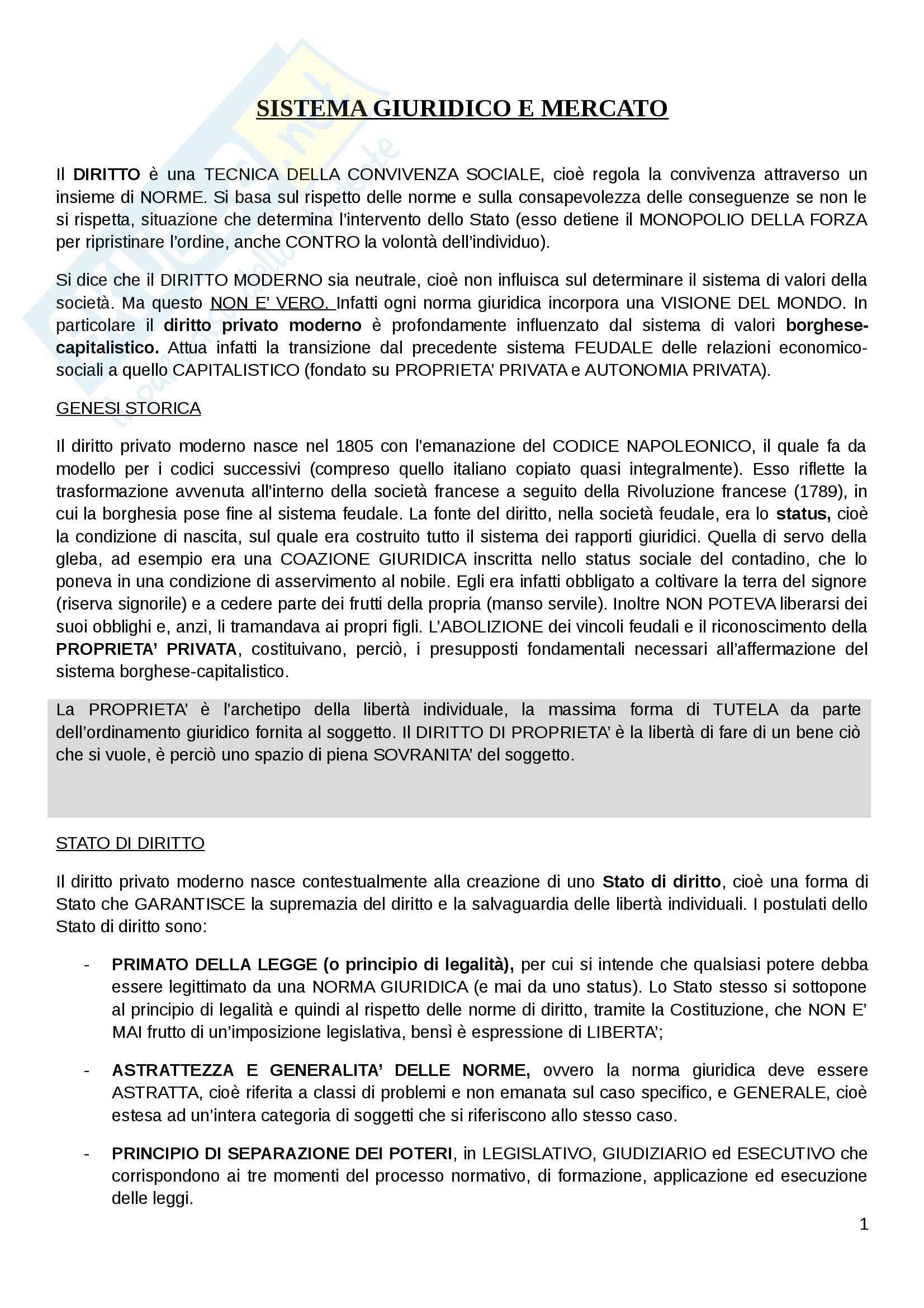 Riassunto esame Sistema giuridico e mercato, prof. Messinetti, libro consigliato Diritto privato e società moderna, Barcellona