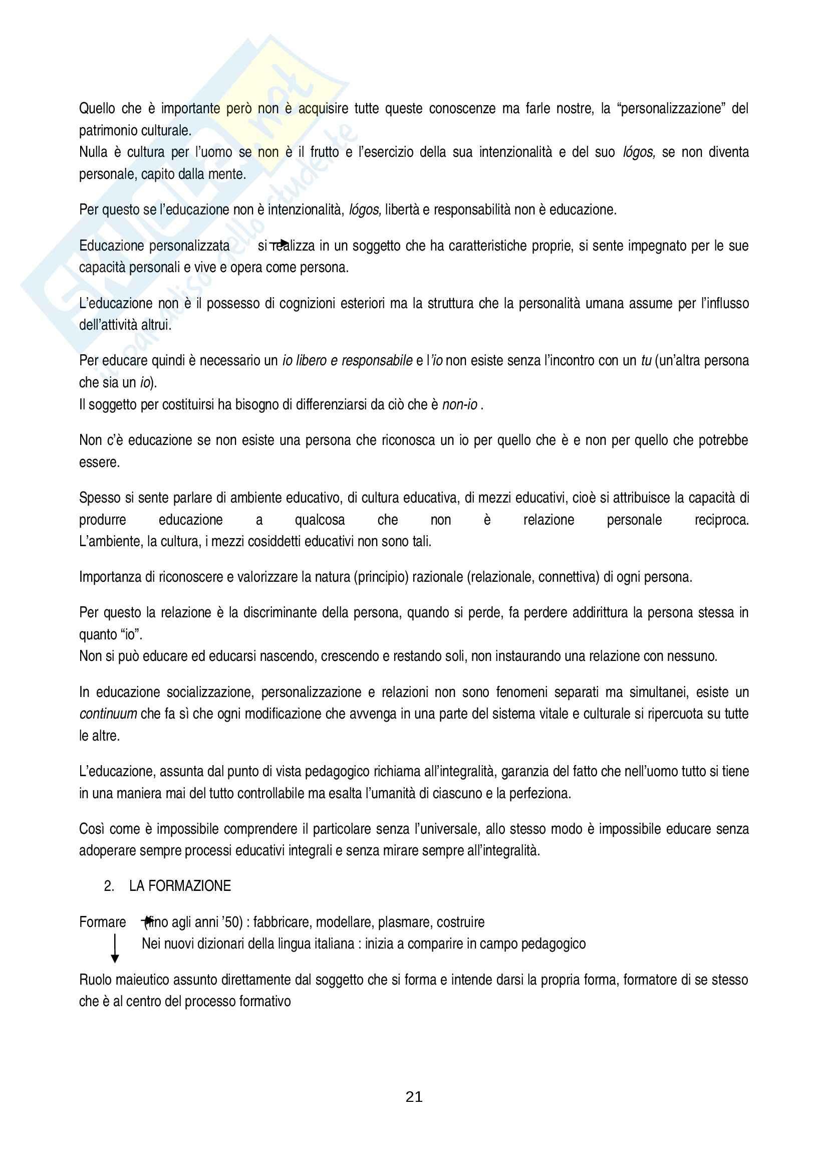 Riassunto esame Pedagogia generale, prof. Bertagna, libro consigliato Dall'educazione alla pedagogia Pag. 21