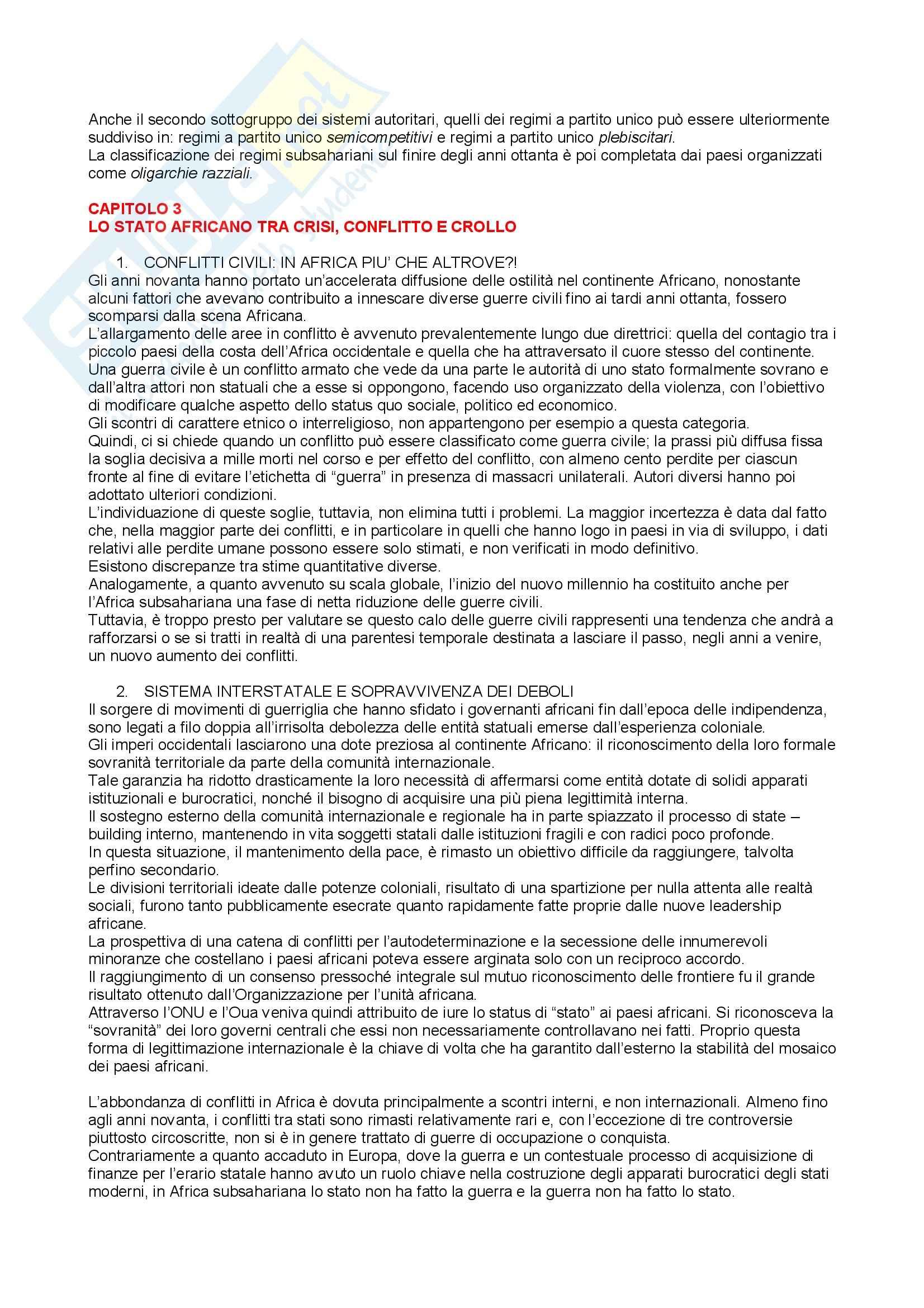 Riassunto esame Storia e Istituzioni dell'Africa, prof. indefinito, libro consigliato L'Africa, gli Stati, la Politica, i Conflitti, Carbone Pag. 6