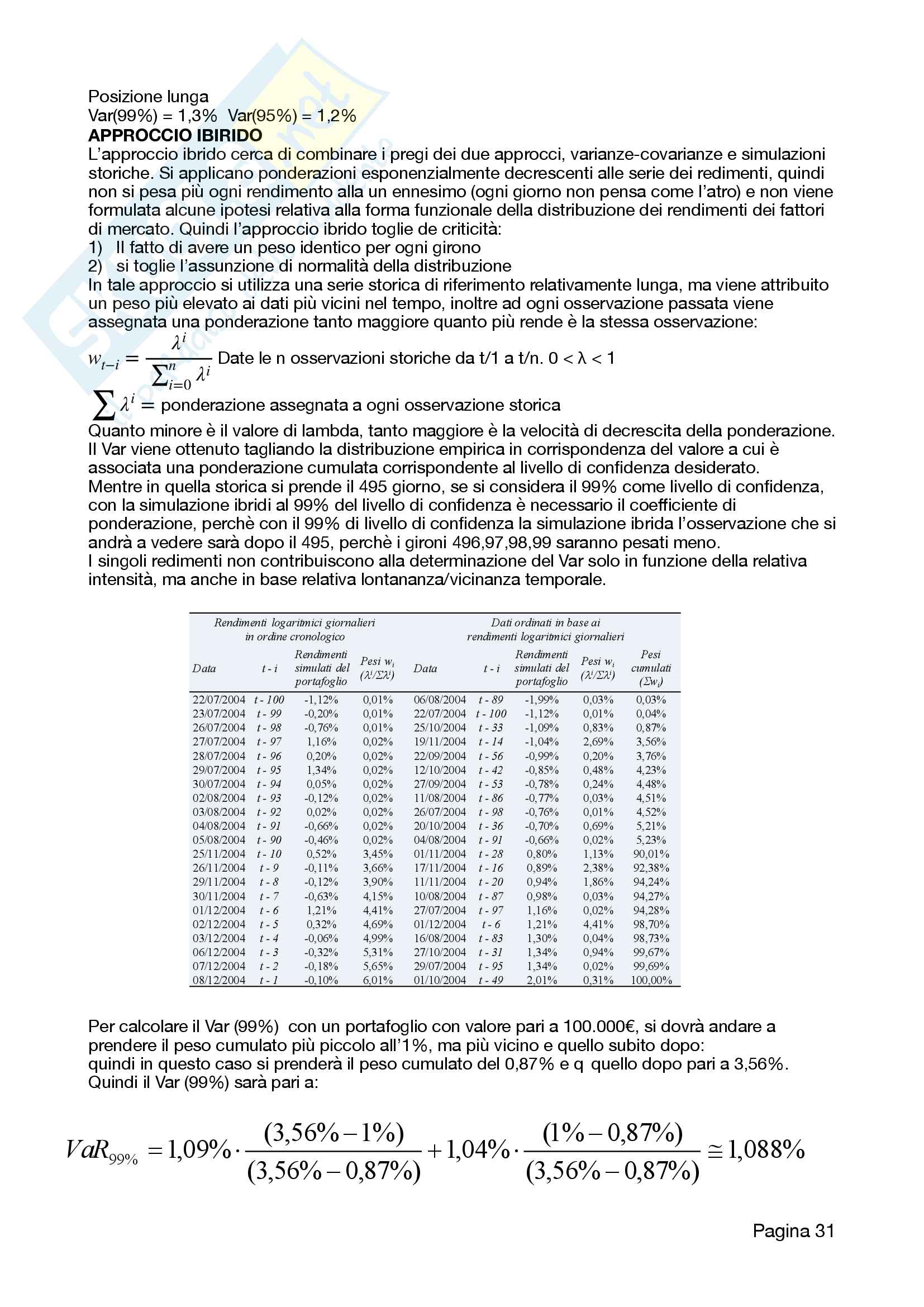 Economia delle aziende di credito - Risk Management Pag. 31