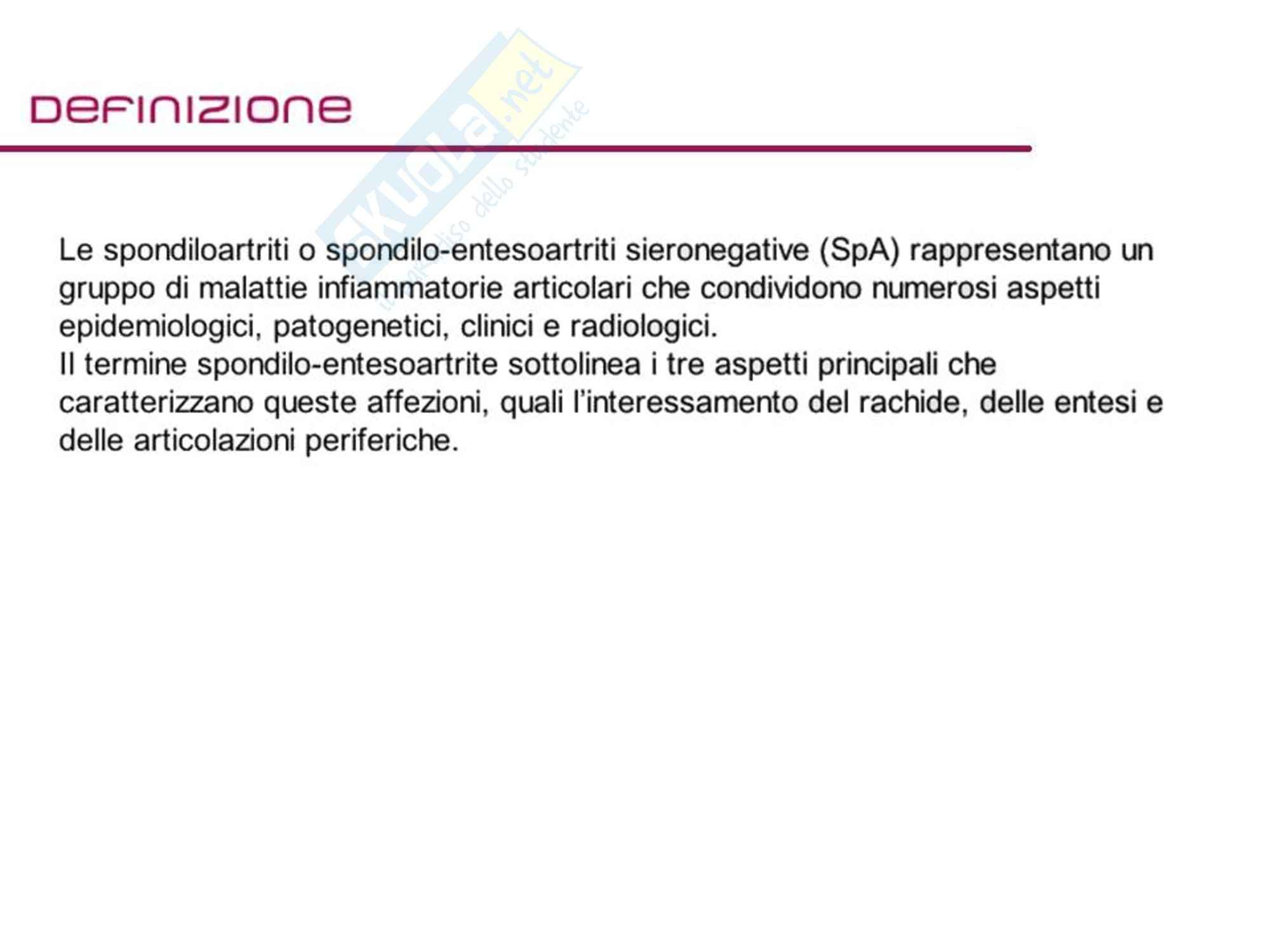 Reumatologia - Spondilo entesoartriti sieronegative