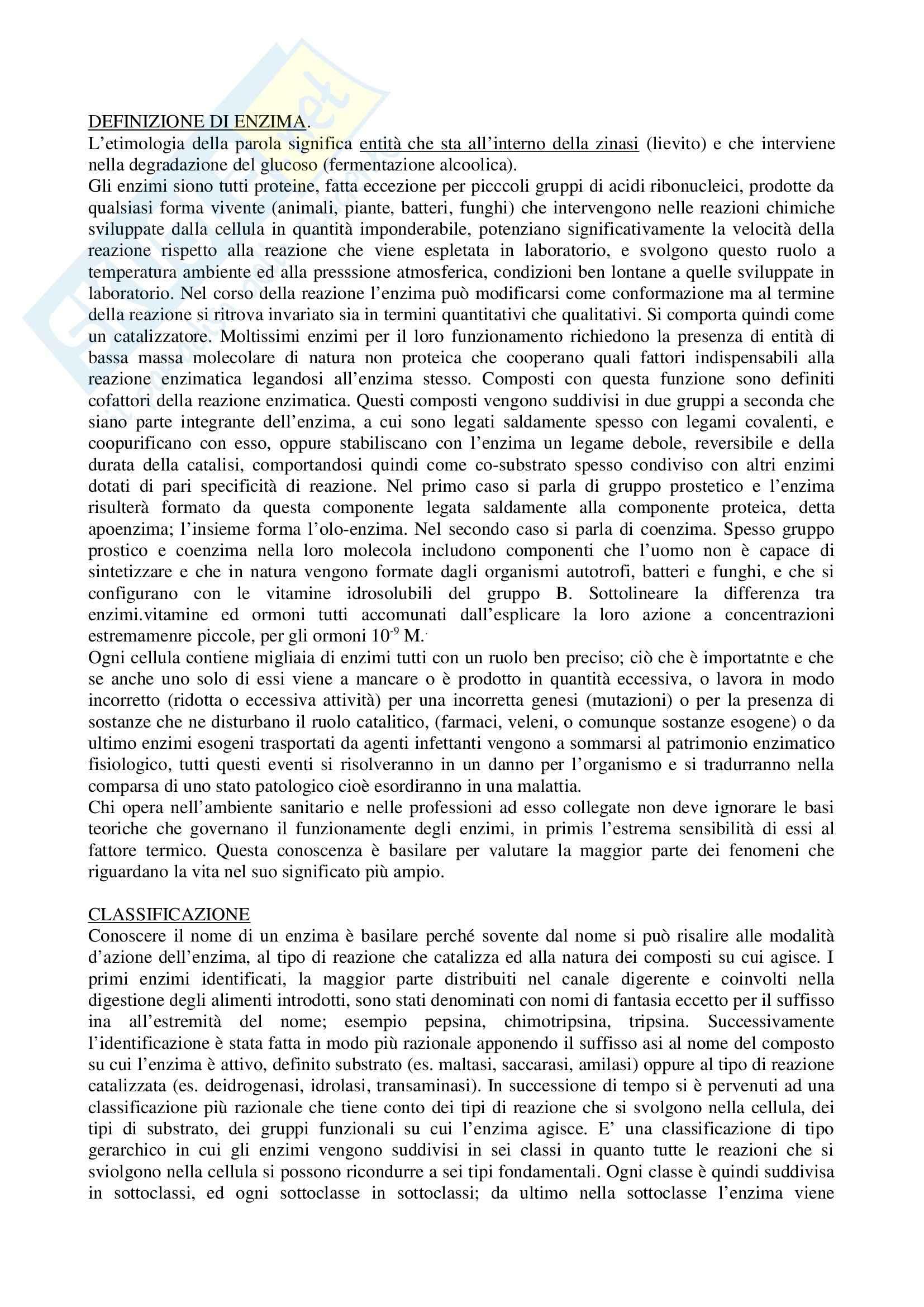 Biochimica e biologia molecolare - meccanismo della reazione enzimatica