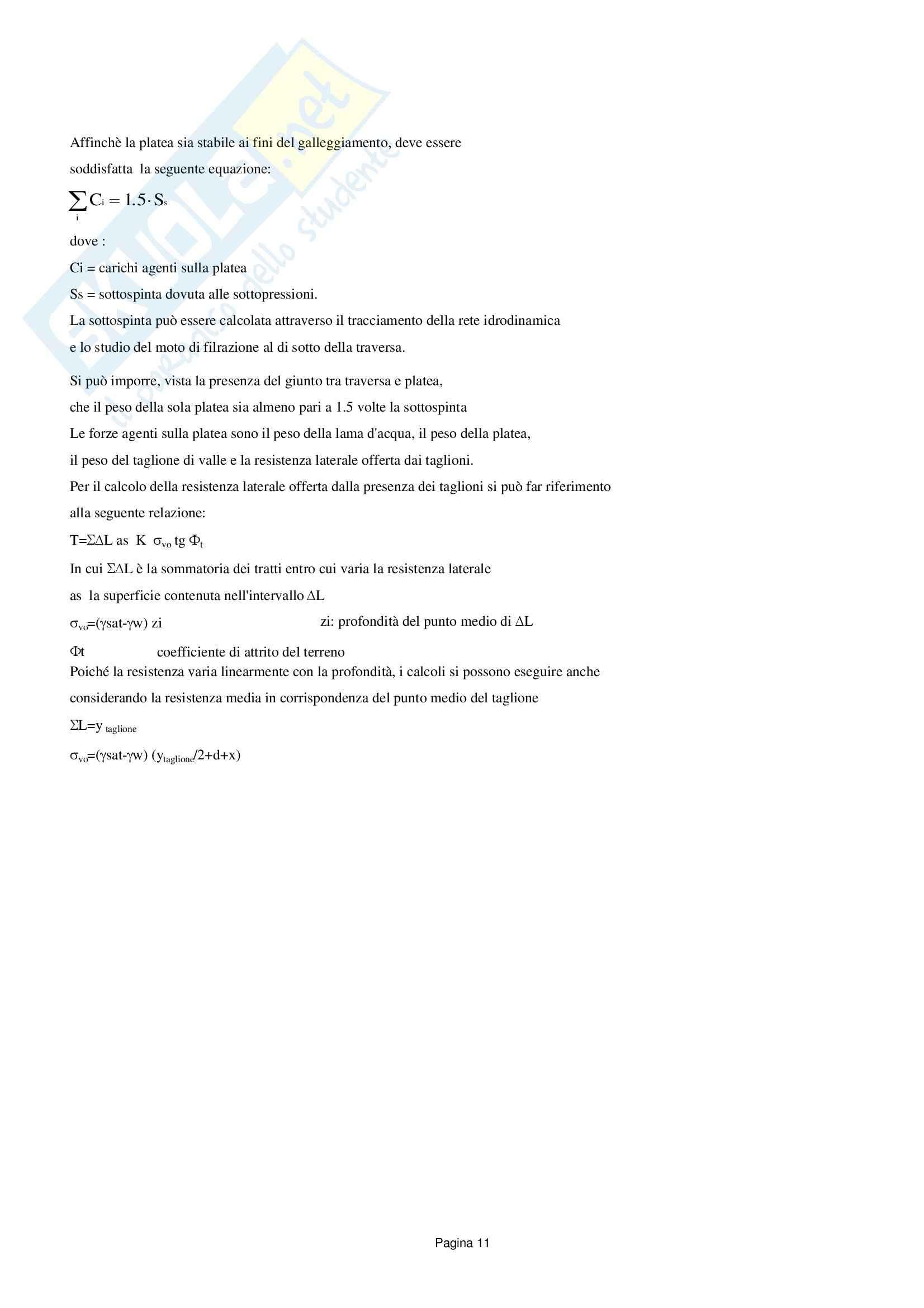 Traversa: versione senza reticolo, Costruzioni idrauliche Pag. 11