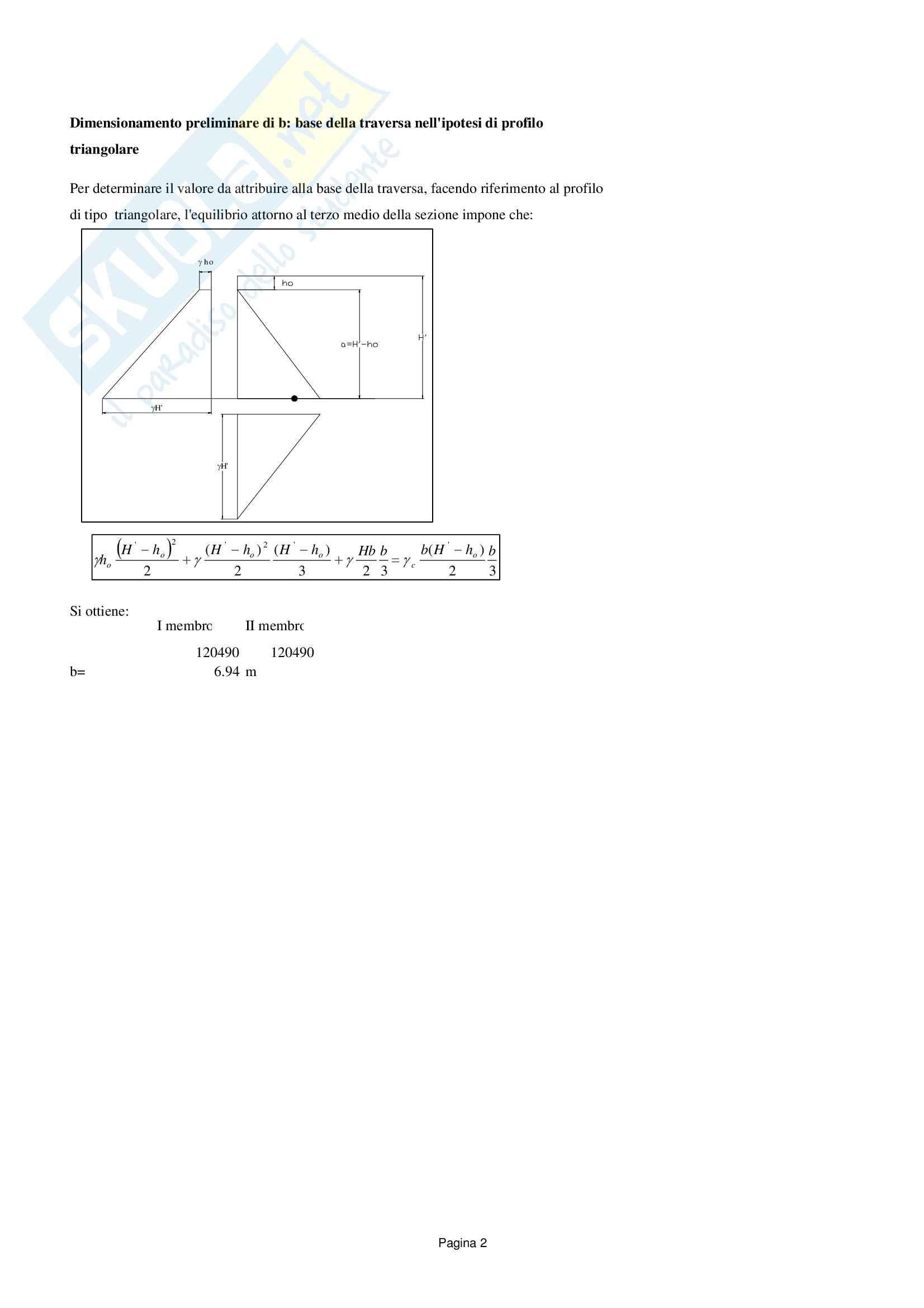 Traversa: versione senza reticolo, Costruzioni idrauliche Pag. 2