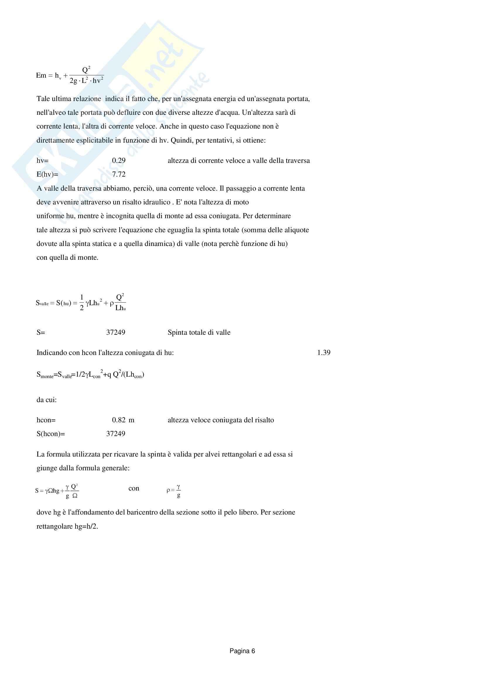 Traversa: versione senza reticolo, Costruzioni idrauliche Pag. 6