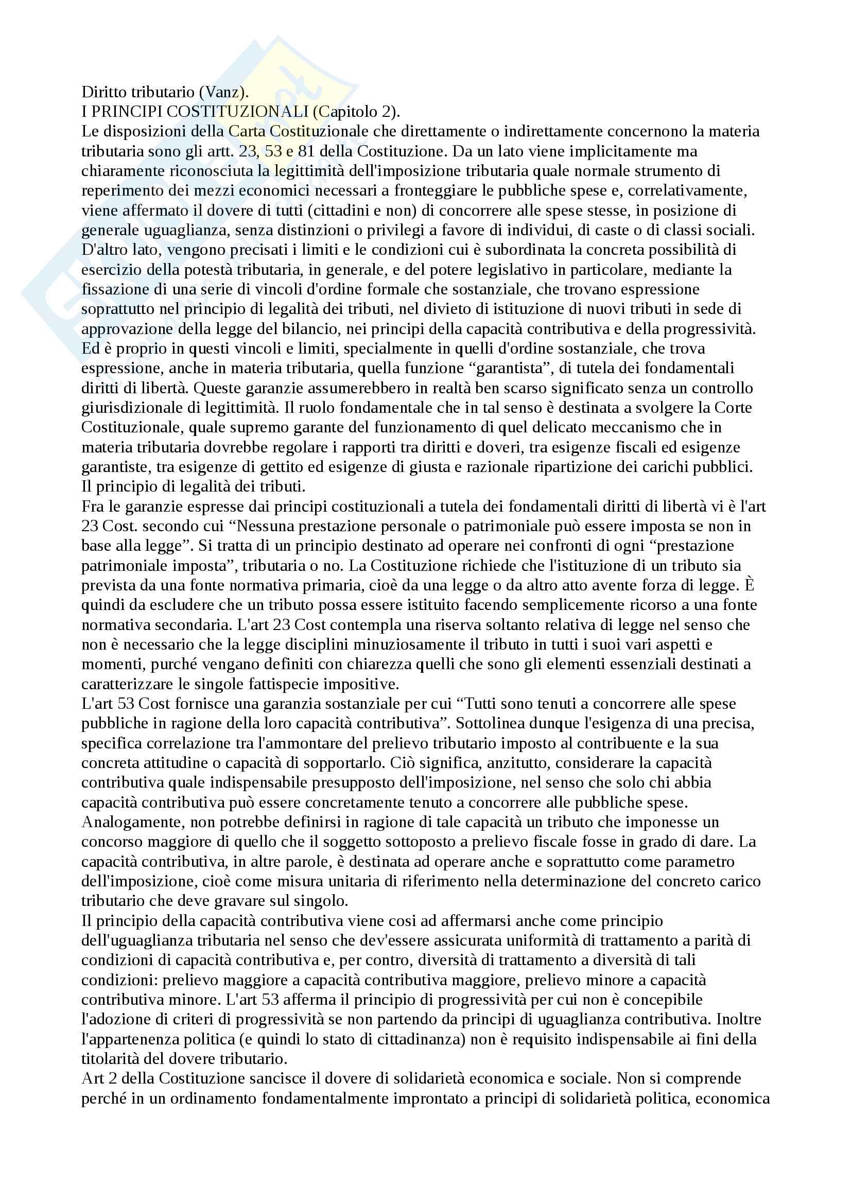 Riassunto esame diritto tributario, prof Vanz, libro consigliato Il diritto tributario. Profili teorici e sistematici, Vanz, Manzoni Pag. 1