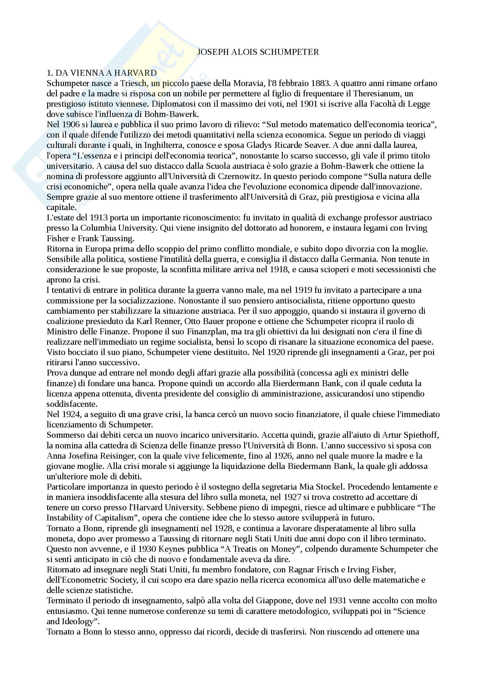 Storia pensiero economico - Schumpeter