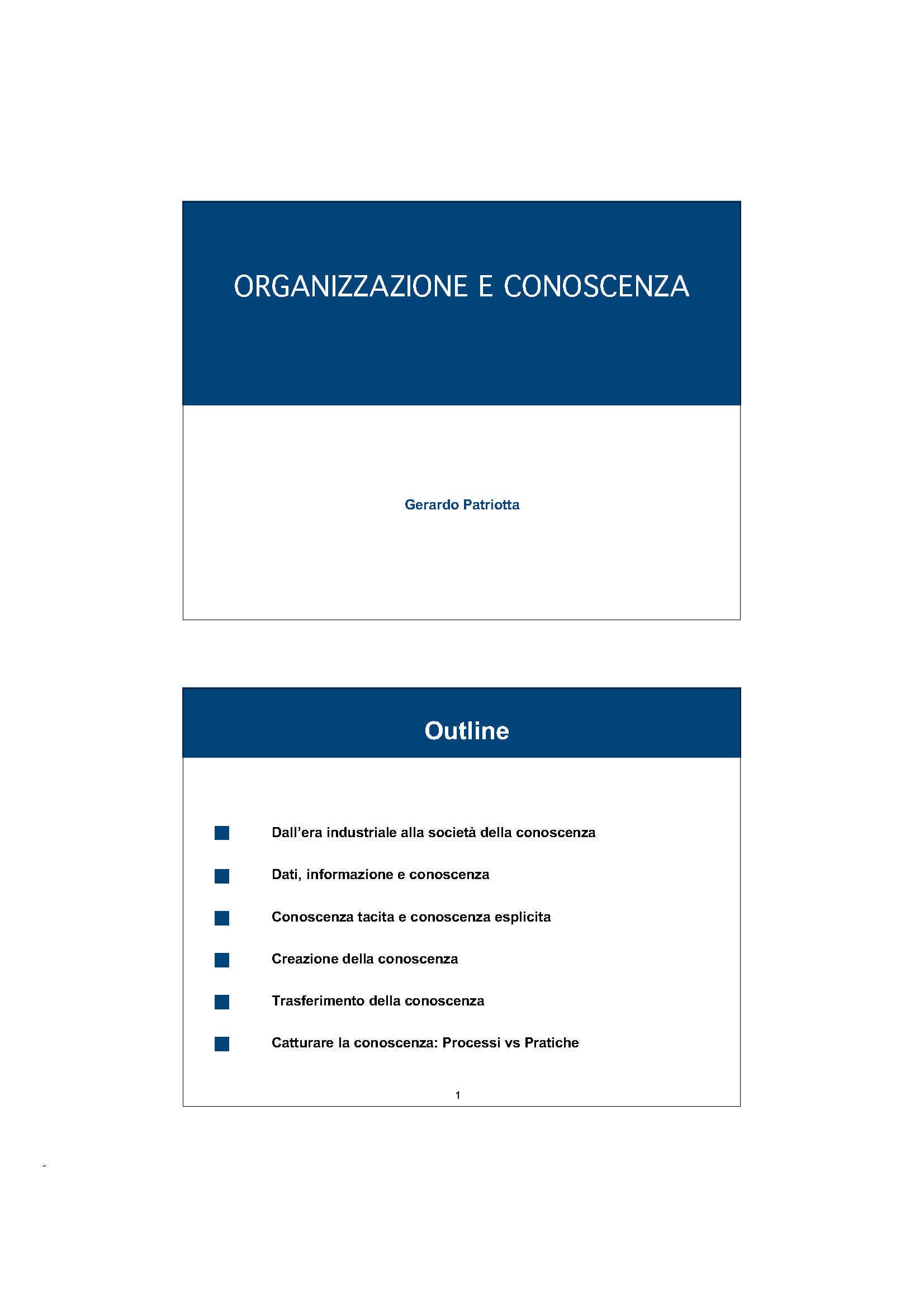 Organizzazione e conoscenza