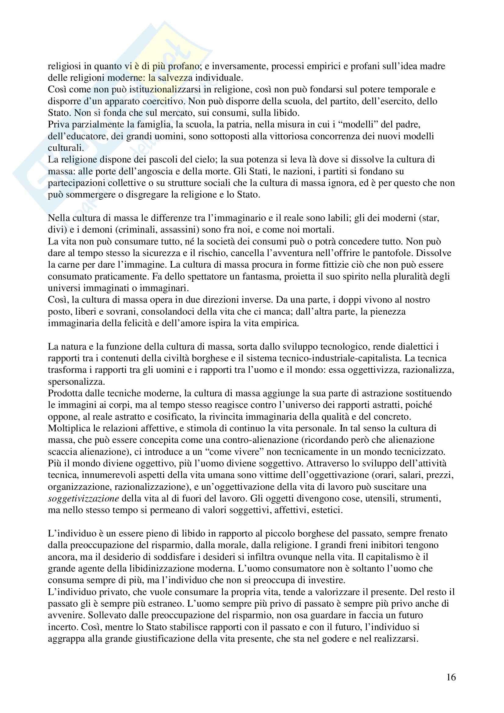 Riassunto esame Sociologia del Mutamento, prof. Musso, libro consigliato Lo Spirito del Tempo, Morin Pag. 16