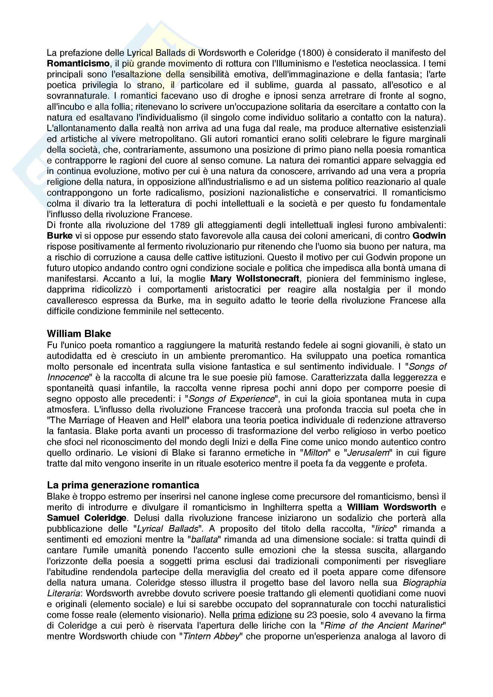 Riassunto esame letteratura inglese, prof. De Rinaldis, Breve Storia della letteratura Inglese, Bertinetti