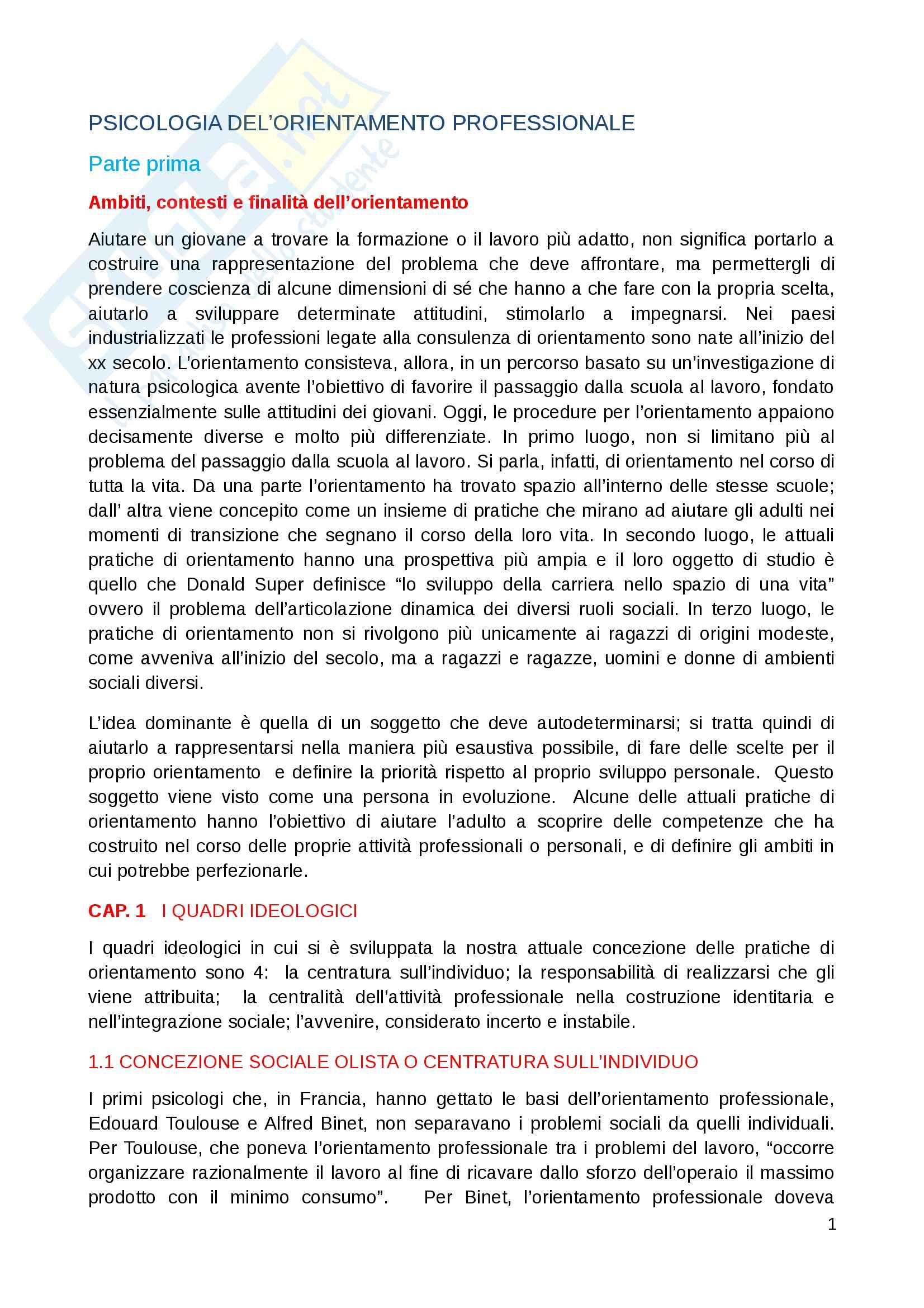 Riassunto esame Psicologia dell orientamento professionale, prof. Murdaca, libro consigliato Psicologia dell'orientamento professionale, Guichard