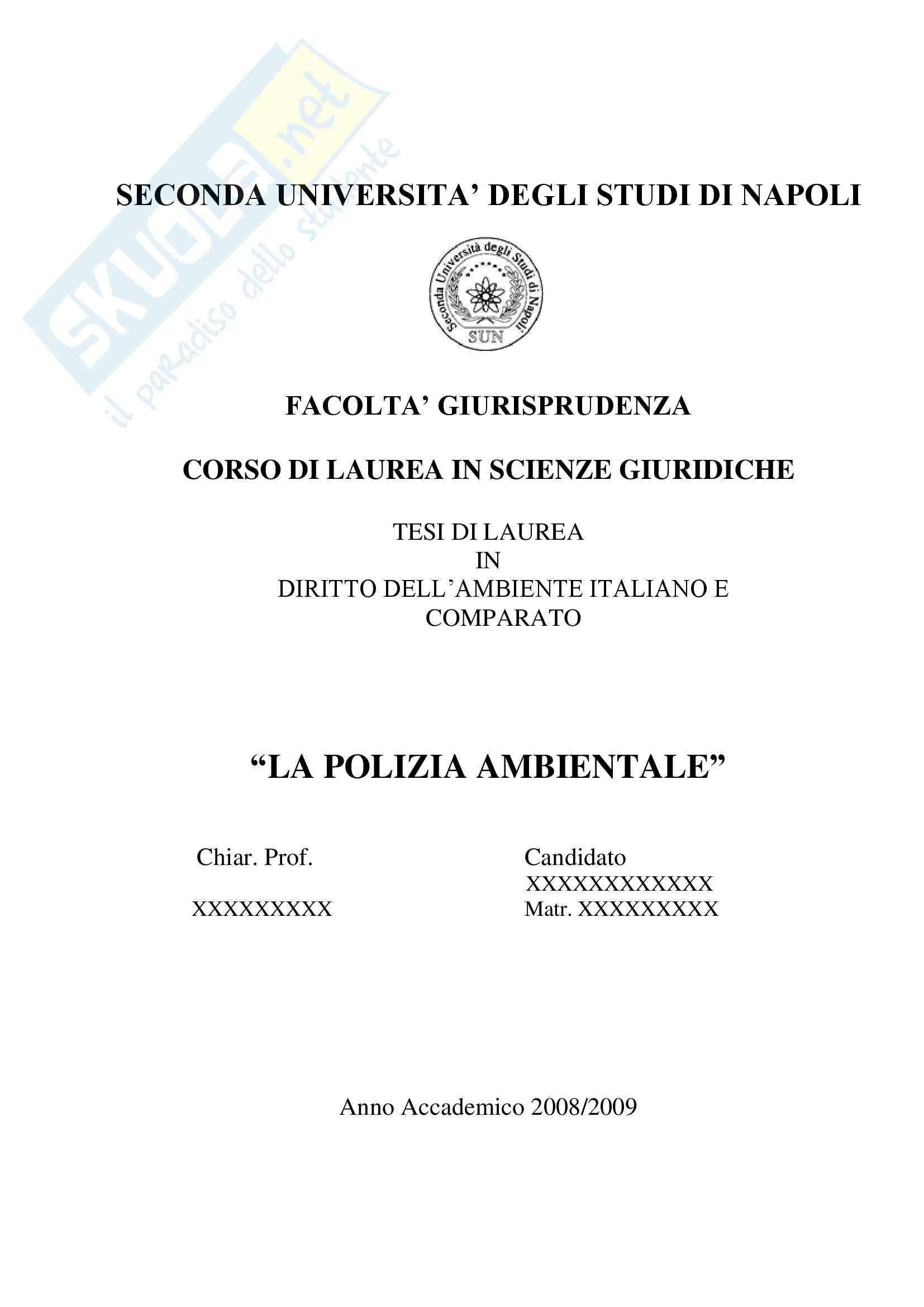 Tesi di laurea diritto ambientale La Polizia Ambientale