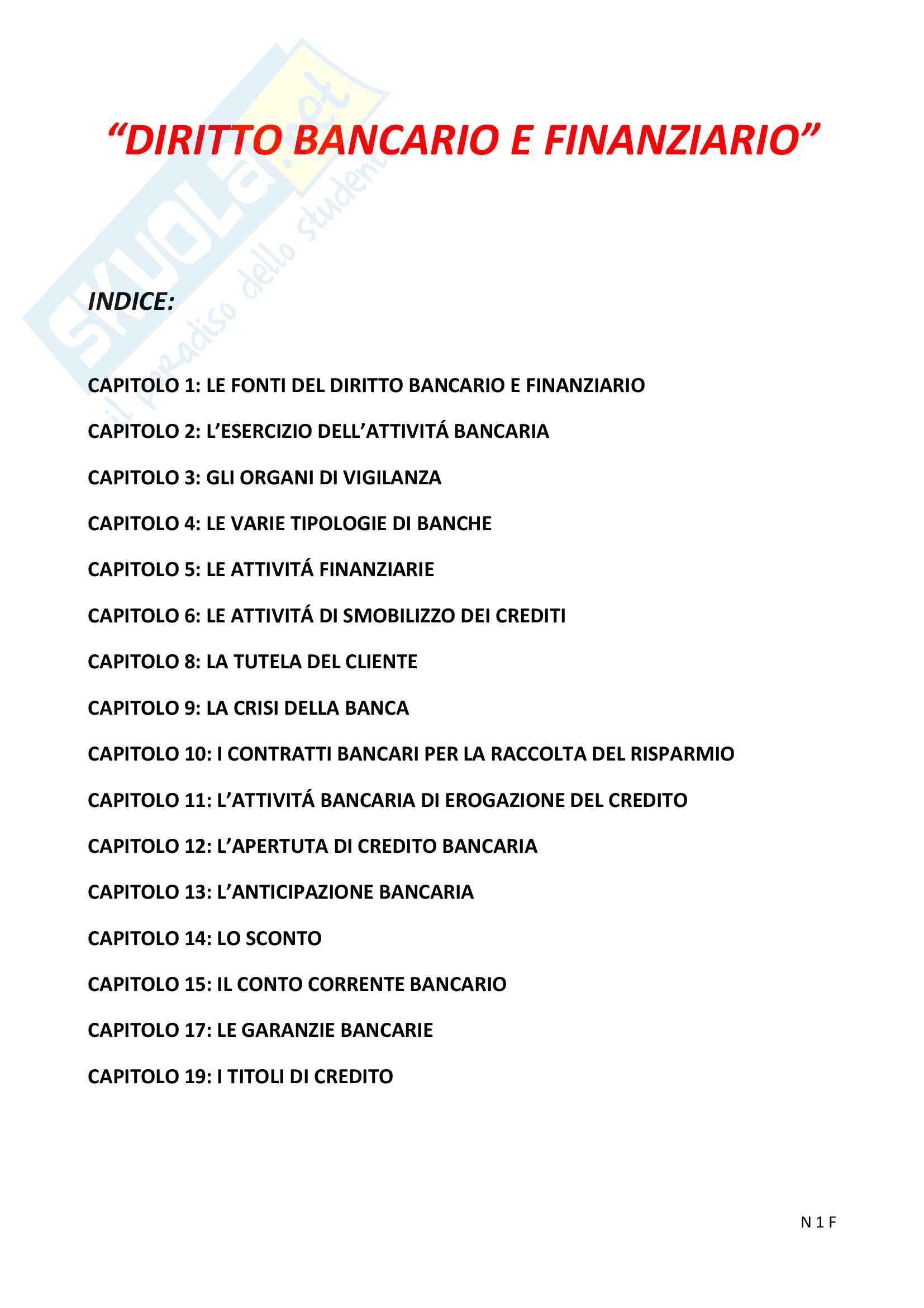 """Riassunto esame Diritto Bancario e Finanziario, prof.  Ciraolo, Libro consigliato """"Diritto Bancario e Finanziario"""", Giuffrè, quarta edizione."""