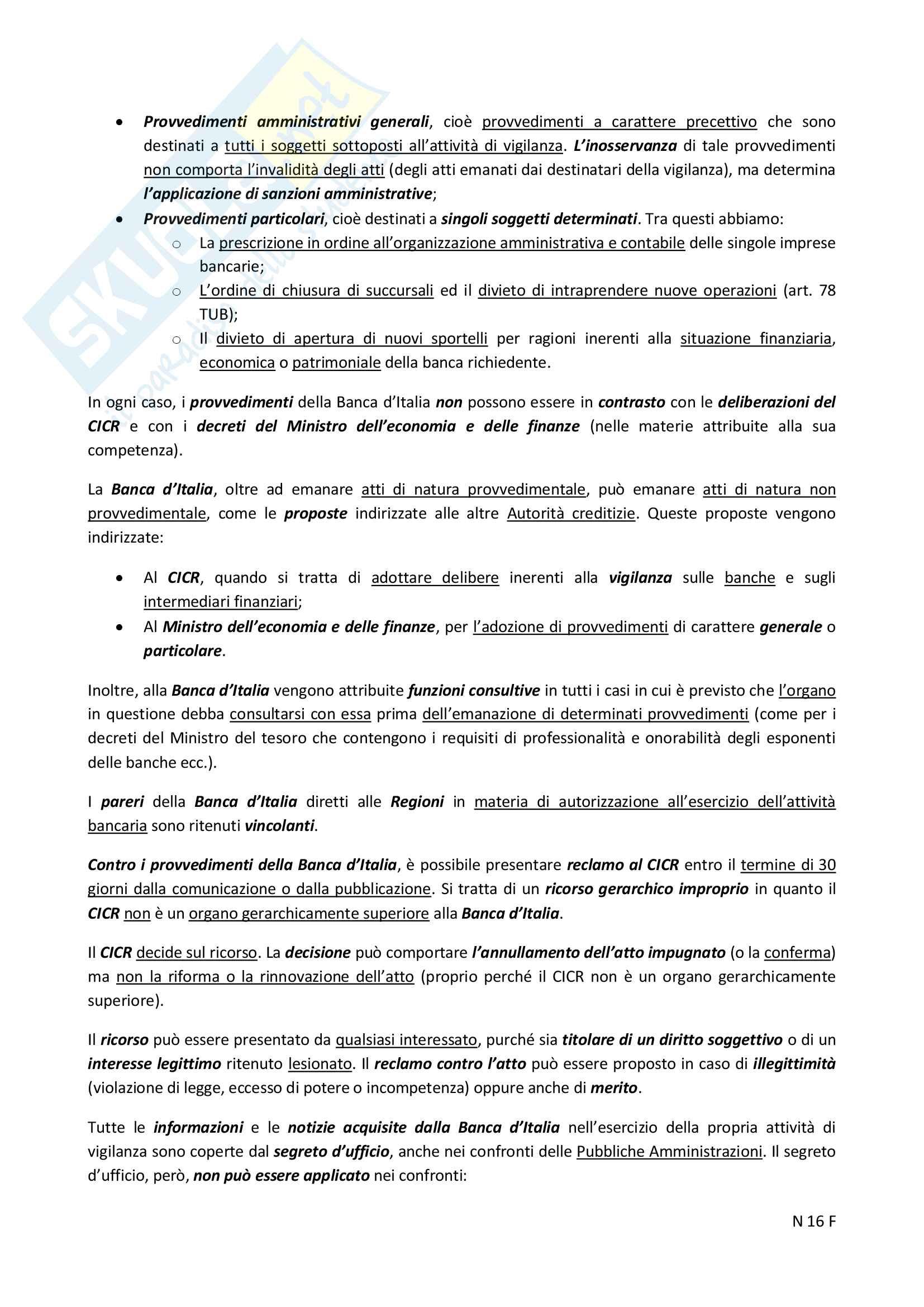 """Riassunto esame Diritto Bancario e Finanziario, prof.  Ciraolo, Libro consigliato """"Diritto Bancario e Finanziario"""", Giuffrè, quarta edizione. Pag. 16"""