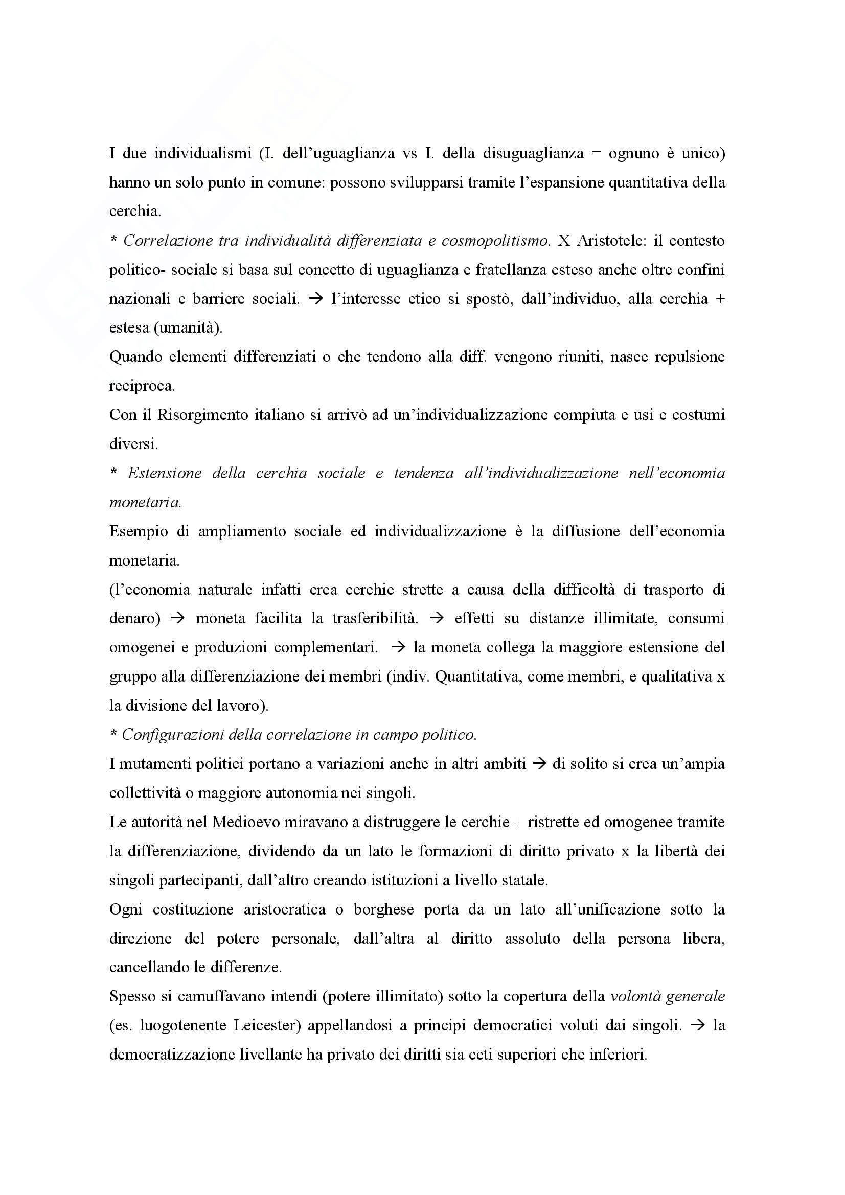 Riassunto esame Sociologia Generale, prof. Rossi, libro consigliato Individuo e Società, Simmel Pag. 6