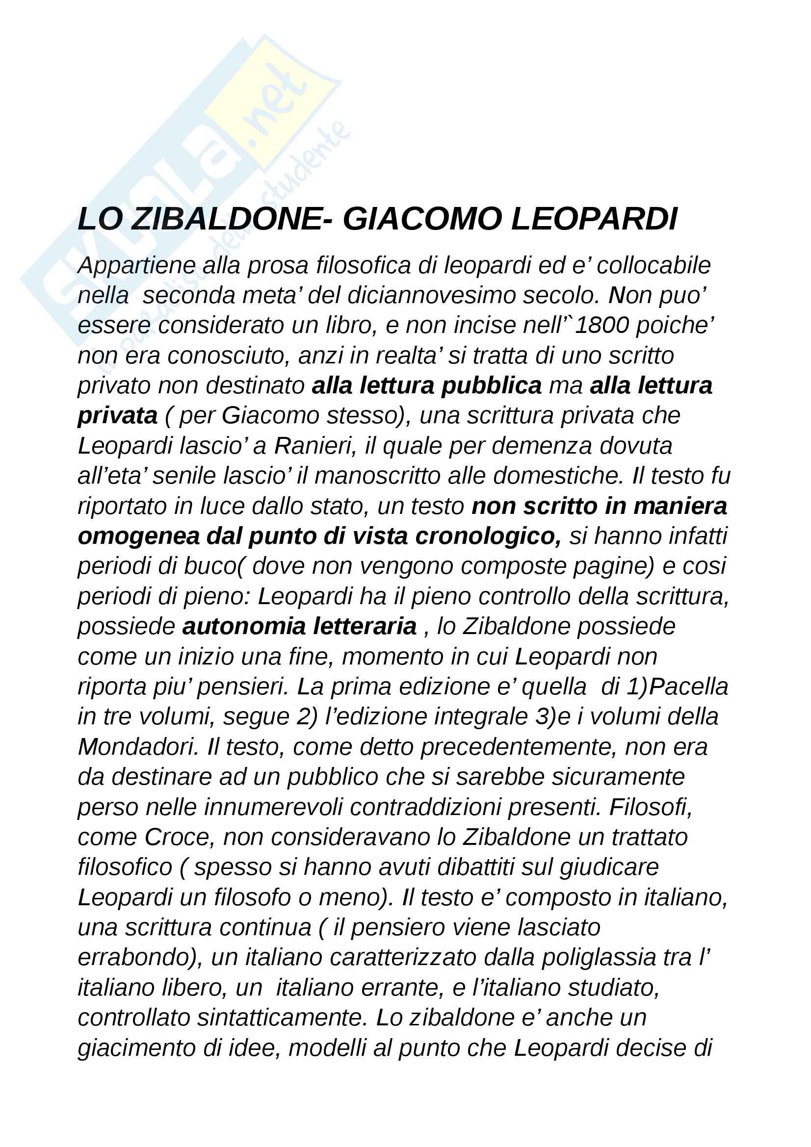 Appunti letteratura italiana Giacomo Leopardi