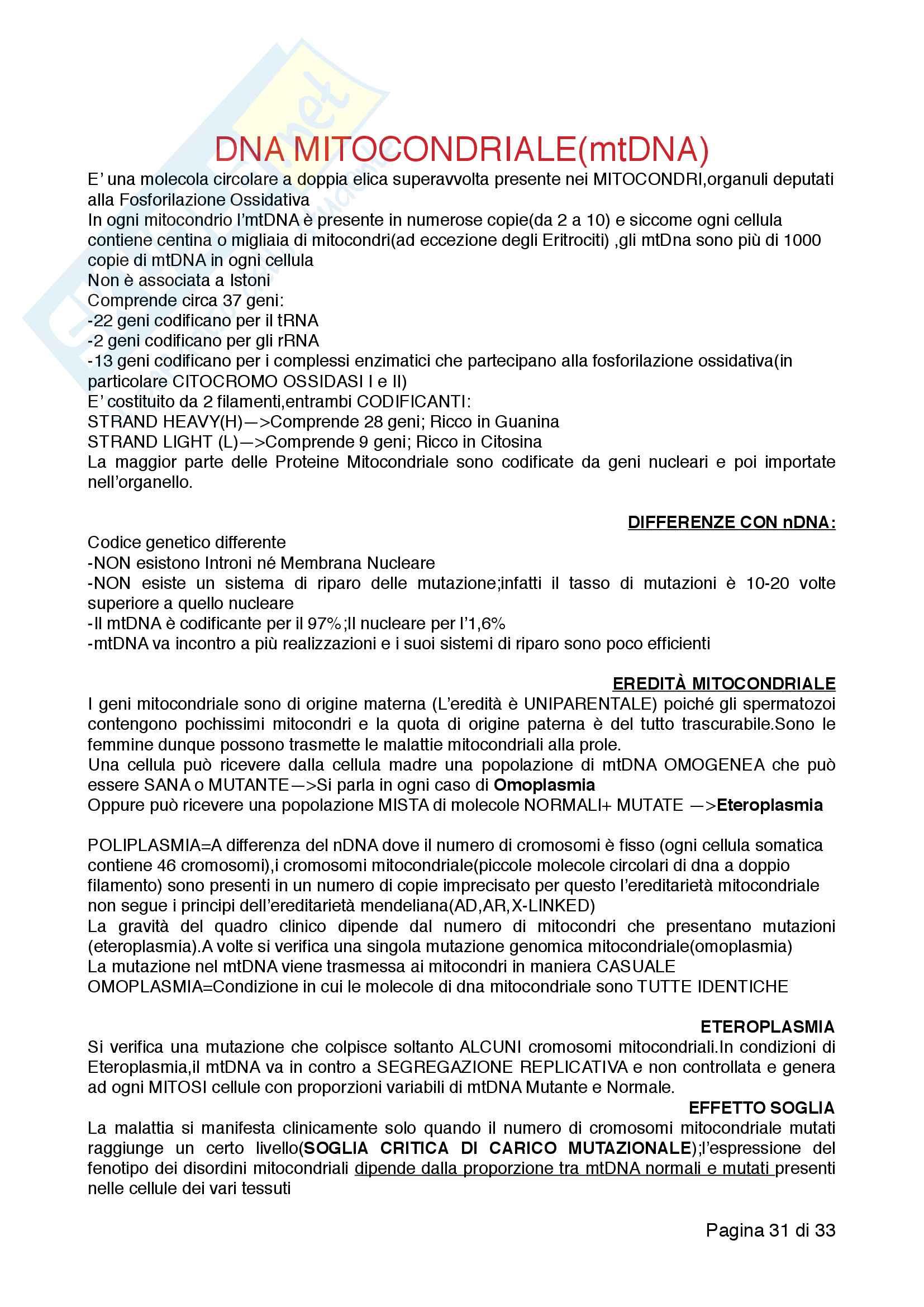 Appunti di Biologia Applicata e Genetica, prof. Francesca Maltecca Pag. 31