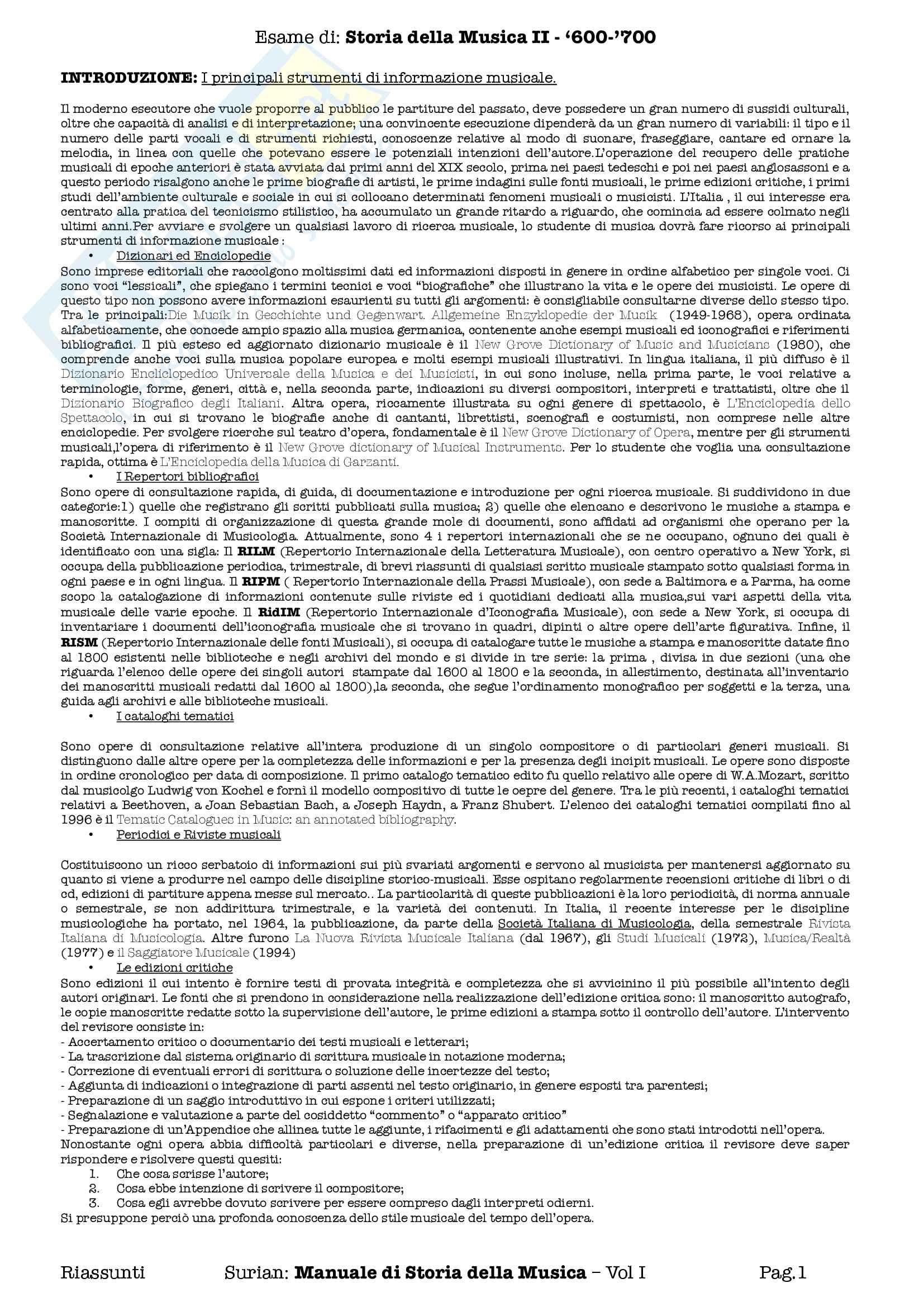 Riassunti esame Storia della Musica II 600 700, prof Pasquini. Libro consigliato Manuale di Storia della Musica, Surian, Vol. I
