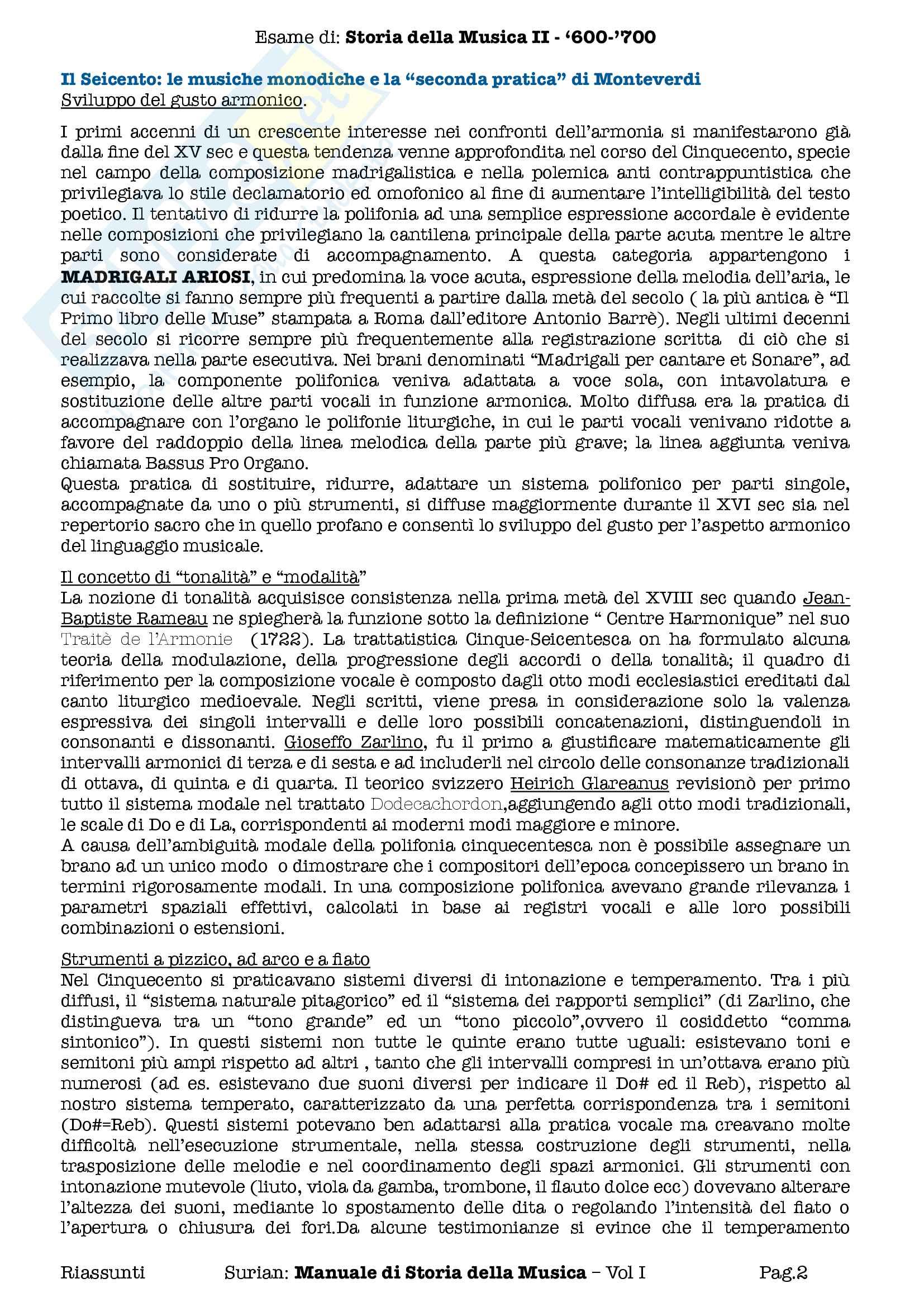 Riassunti esame Storia della Musica II 600 700, prof Pasquini. Libro consigliato Manuale di Storia della Musica, Surian, Vol. I Pag. 2