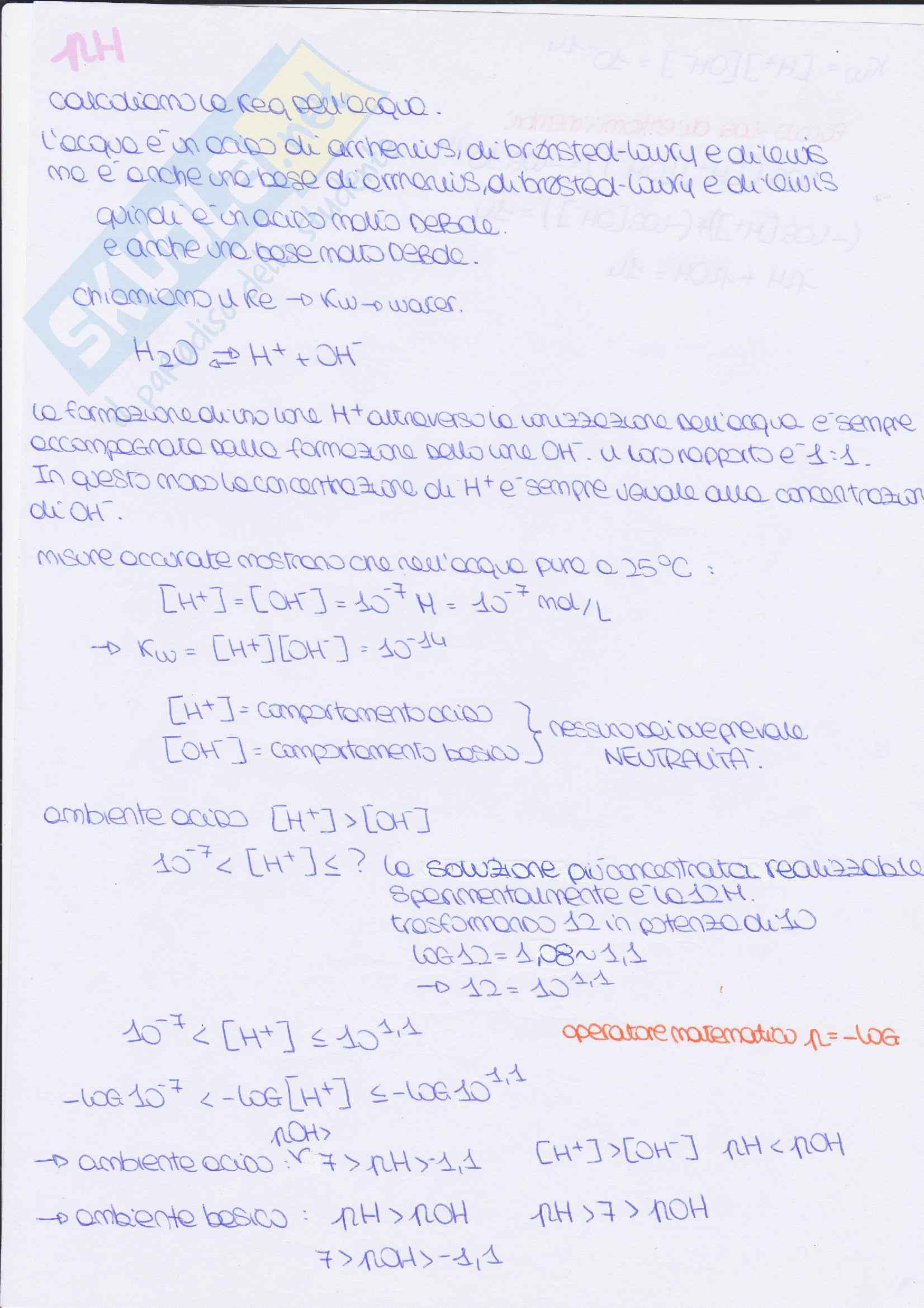 calcolo Ph e soluzioni tampone: appunti di chimica