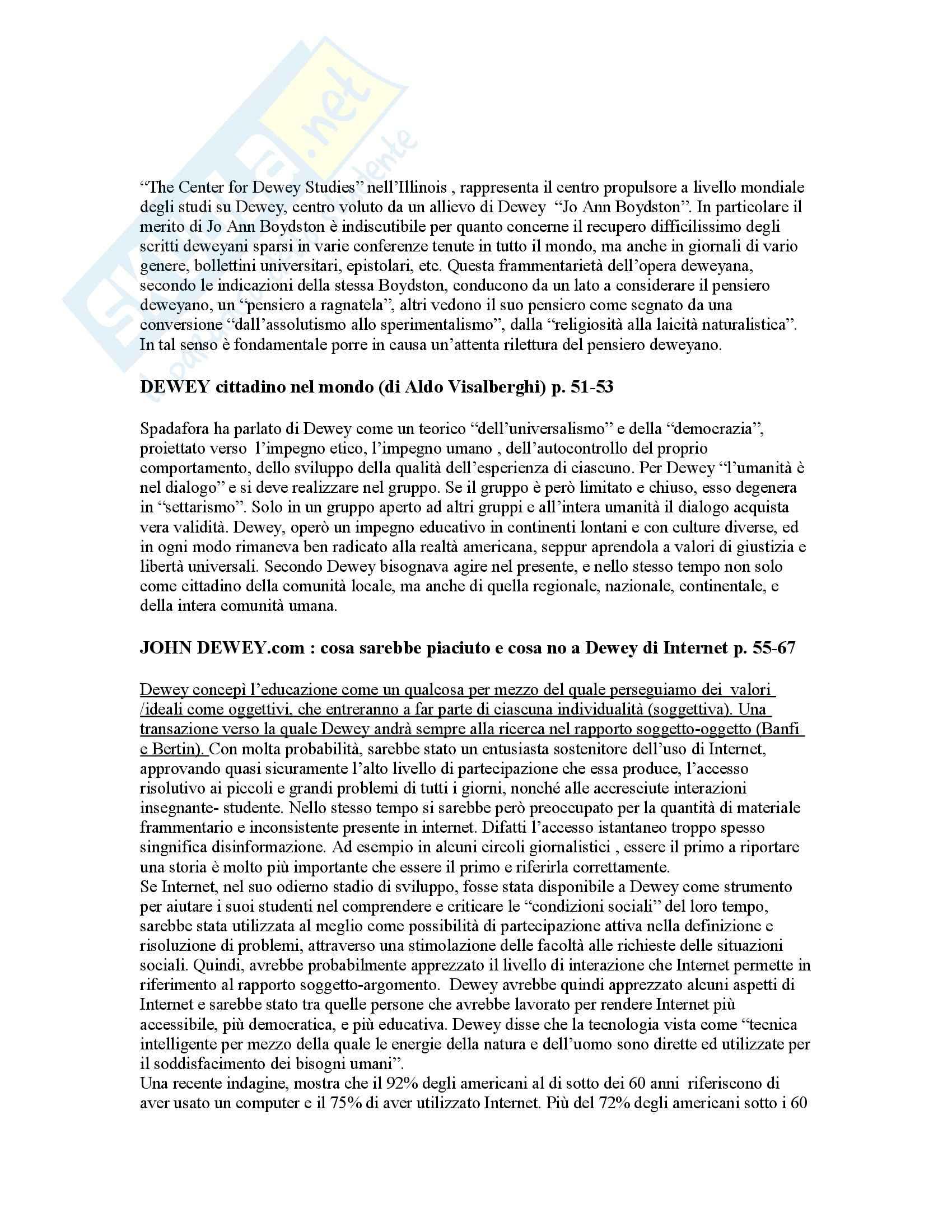 Riassunto esame Storia della pedagogia, prof. Volpicella, libro consigliato Storia della pedagogia, Dewey