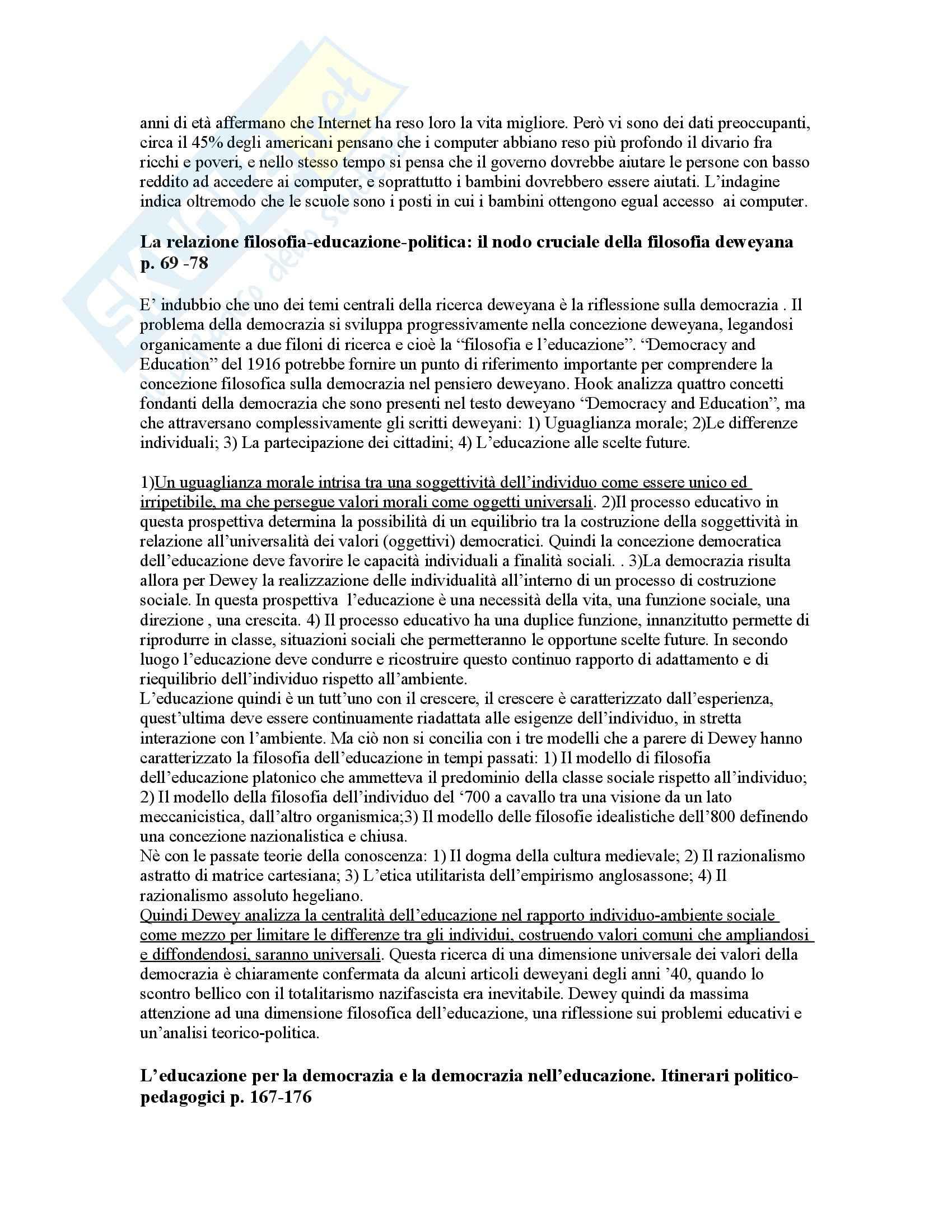 Riassunto esame Storia della pedagogia, prof. Volpicella, libro consigliato Storia della pedagogia, Dewey Pag. 2