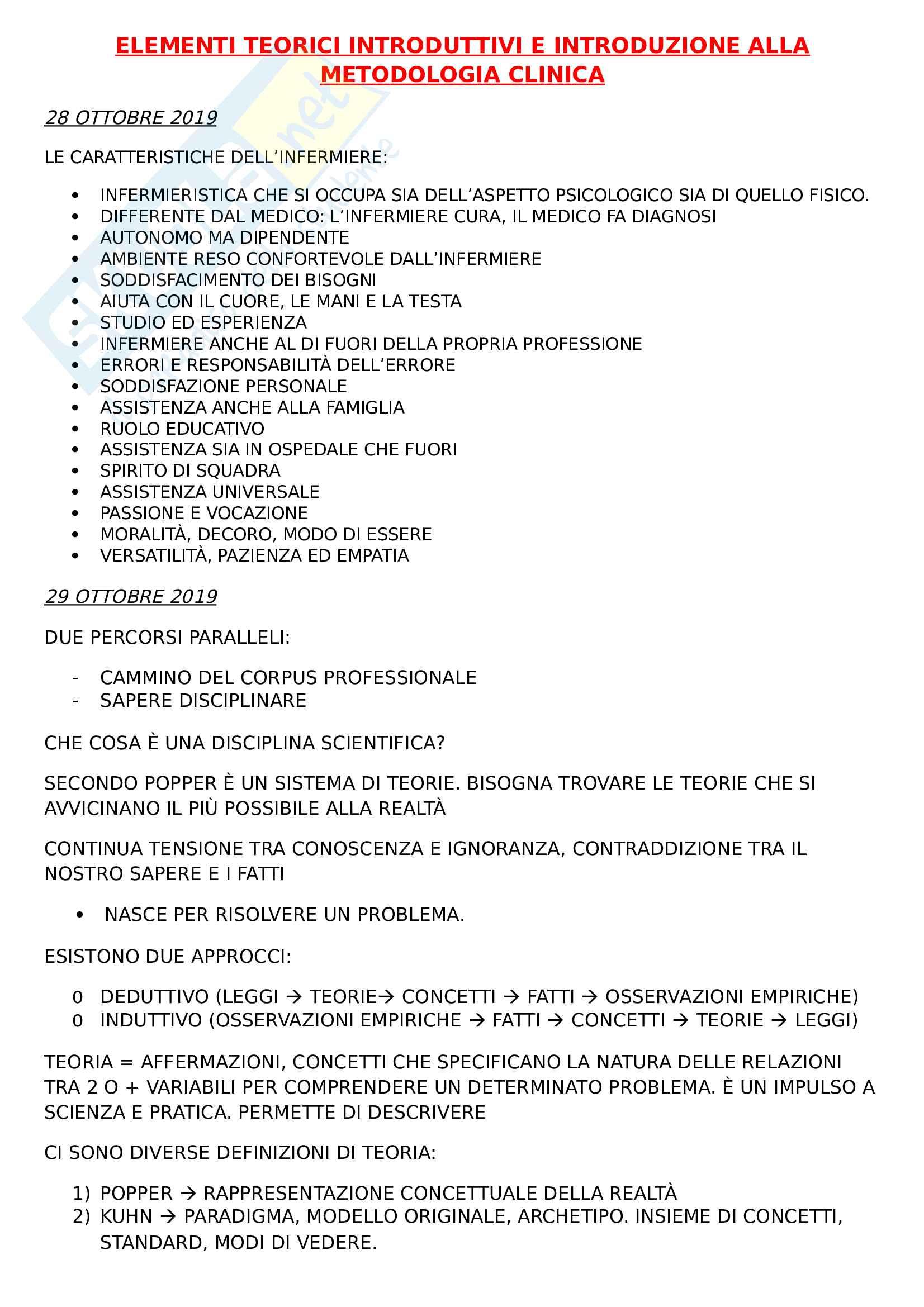 Elementi teorici introduttivi e introduzione alla metodologia clinica