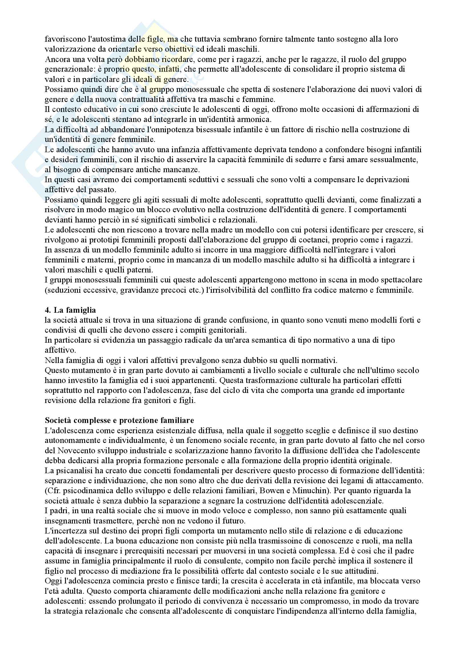 Riassunto esame Psicologia del ciclo di vita, prof. Maggiolini, libro consigliato Manuale di psicologia degli adolescenti, Maggiolini, Charmet Pag. 16