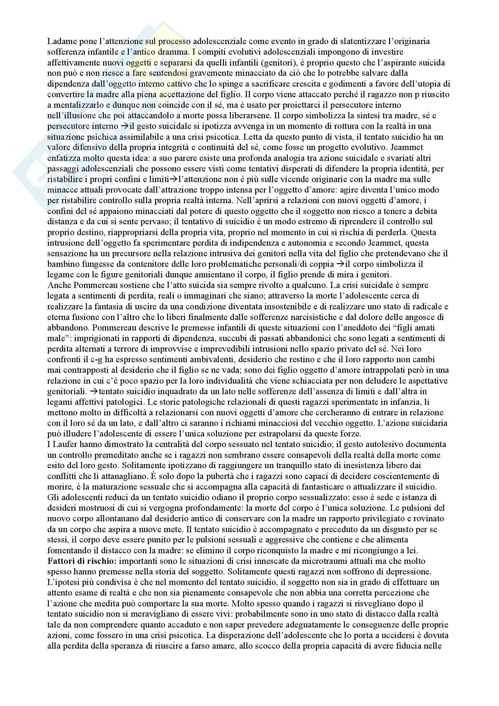 Riassunto esame Psicologia del ciclo di vita, prof. Maggiolini, libro consigliato Manuale di psicologia degli adolescenti, Maggiolini, Charmet Pag. 36