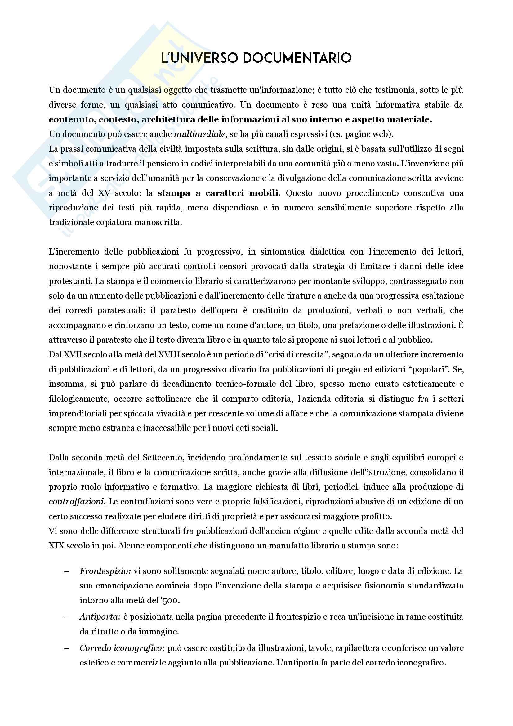 Riassunto Esame di Introduzione alla Biblioteconomia e alla Ricerca Bibliografica, prof. Loretta De Franceschi, libro consigliato Lezioni di bibliografia