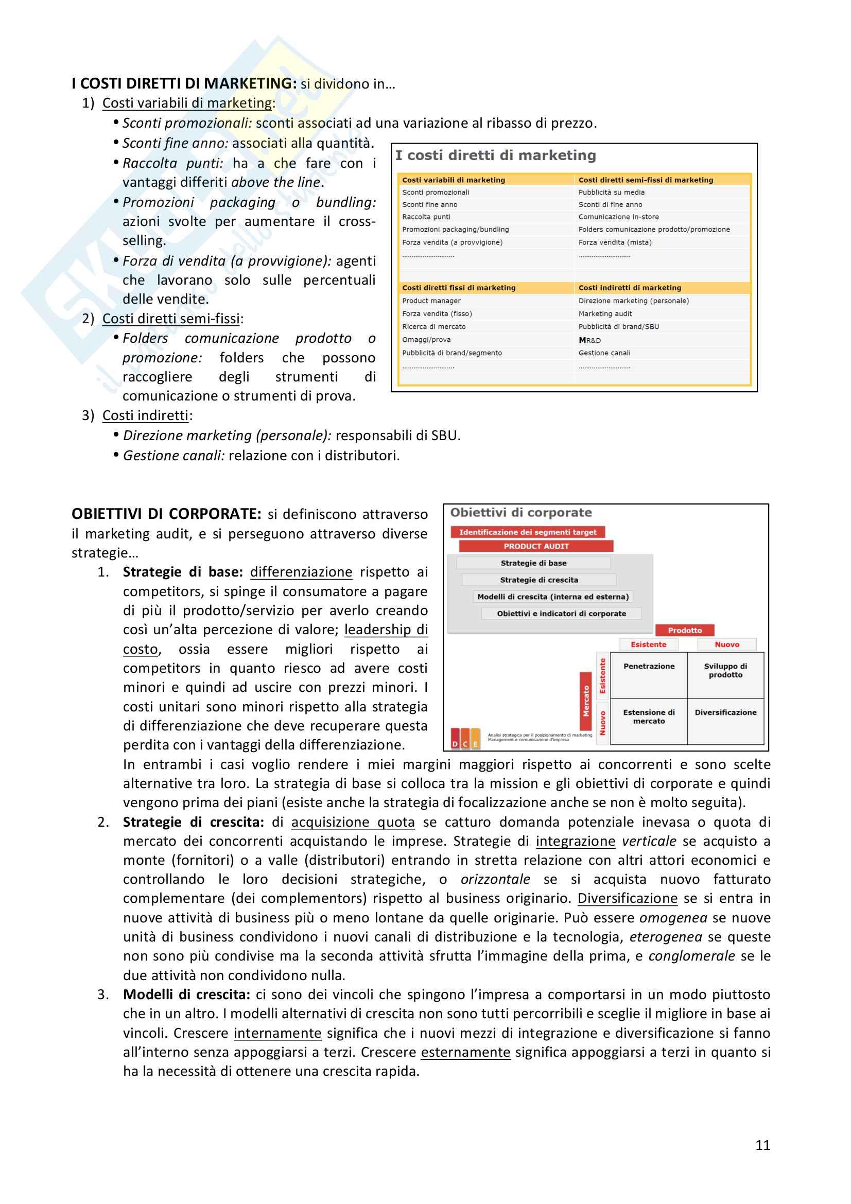 Riassunto esame Analisi strategica per il posizionamento di marketing, docente Galli, libro consigliato Marketing plans, McDonald M. & Wilson H. Pag. 11