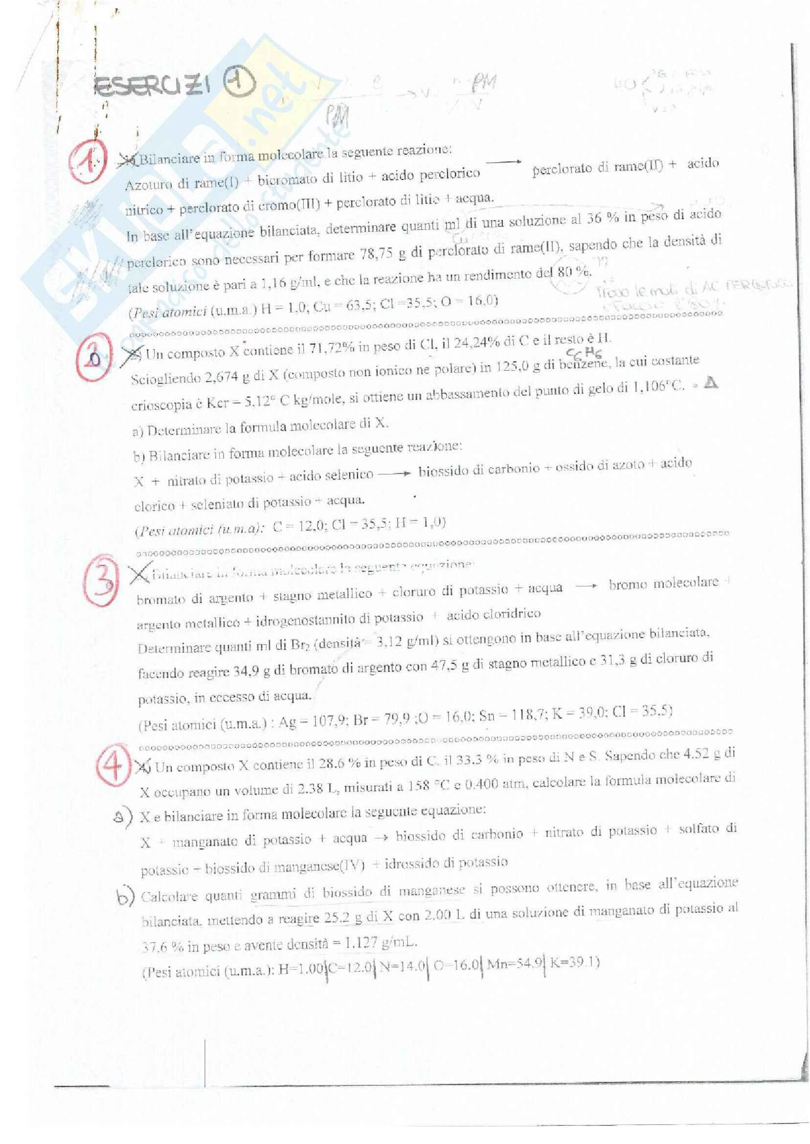 Esercizi d'esame svolti (anni precedenti) di chimica inorganica e generale , divisi per argomenti. Ctf e Farmacia. prof Fornarini
