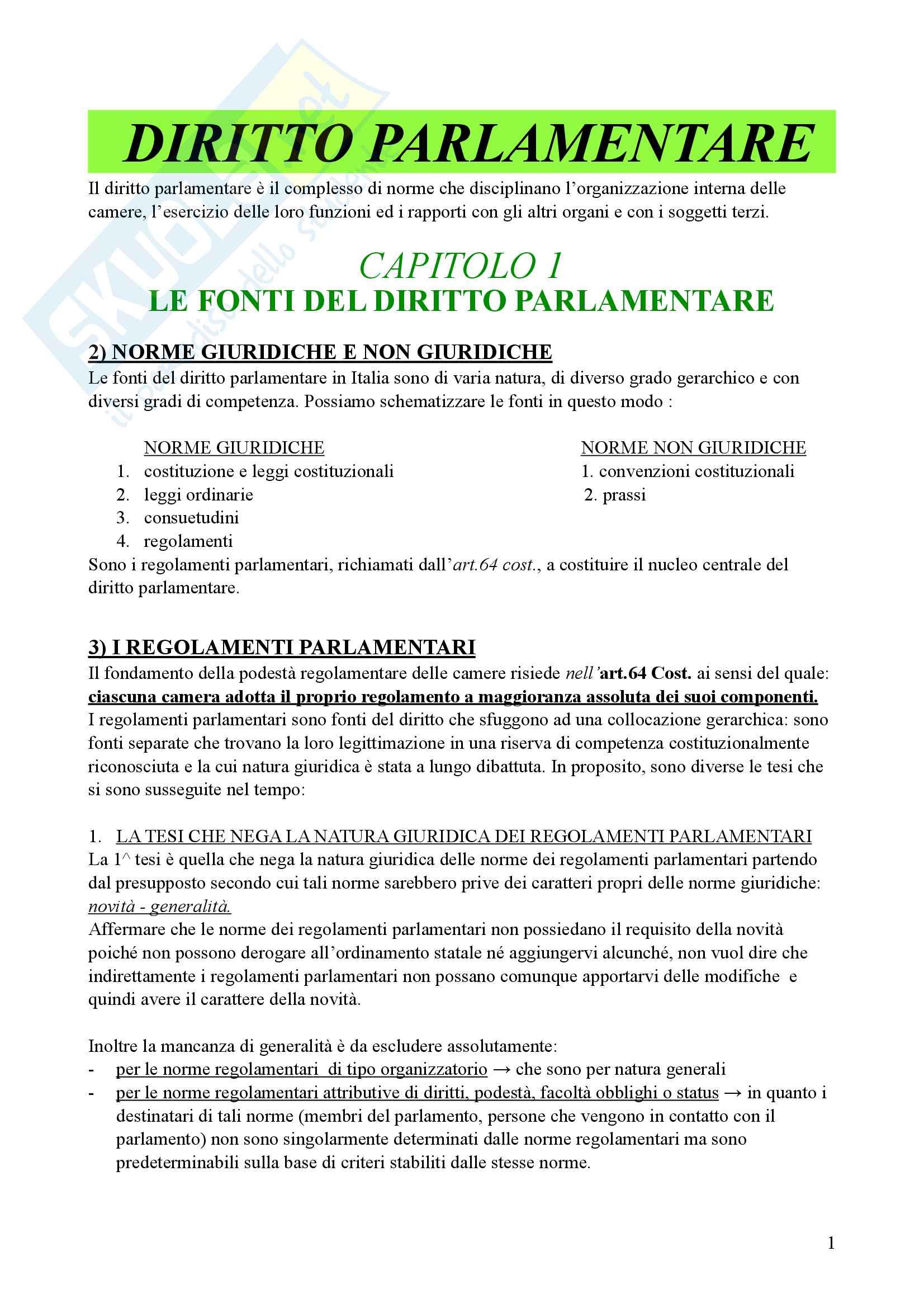 Riassunto esame Diritto parlamentare, Libro consigliato Cicconetti