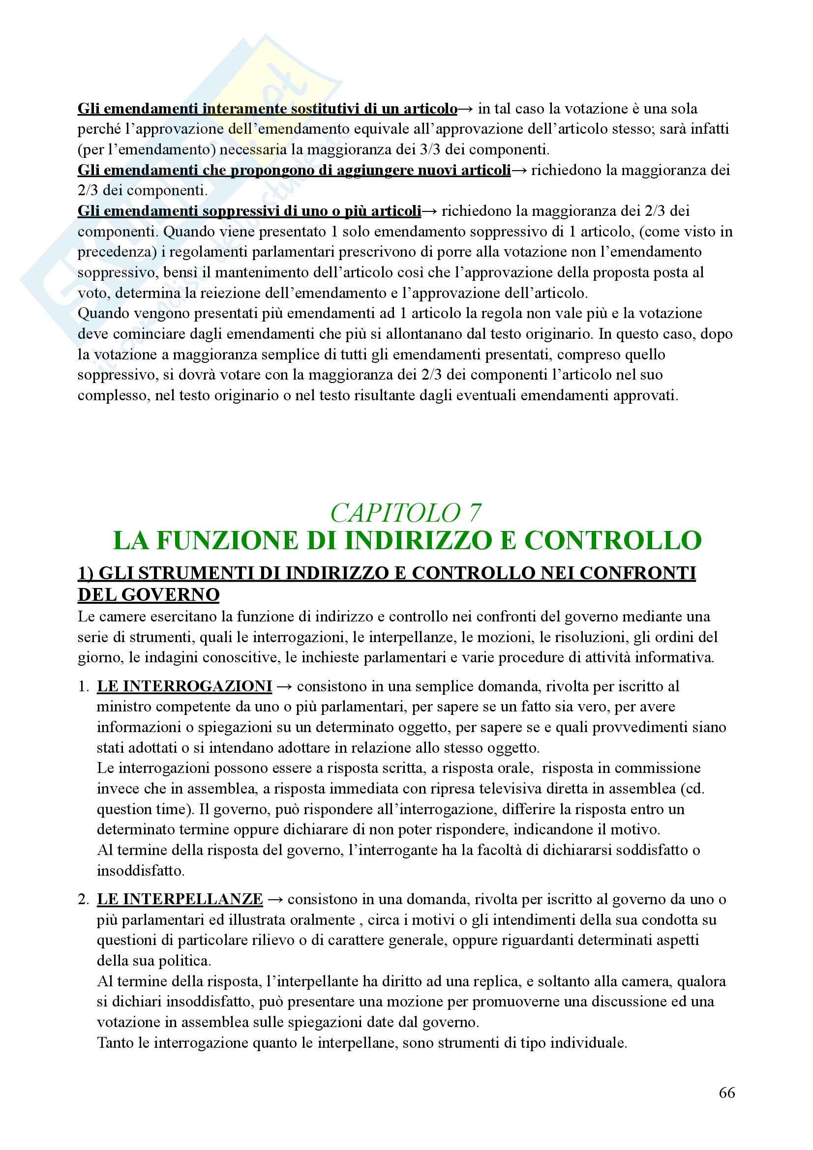 Riassunto esame Diritto parlamentare, Libro consigliato Cicconetti Pag. 66